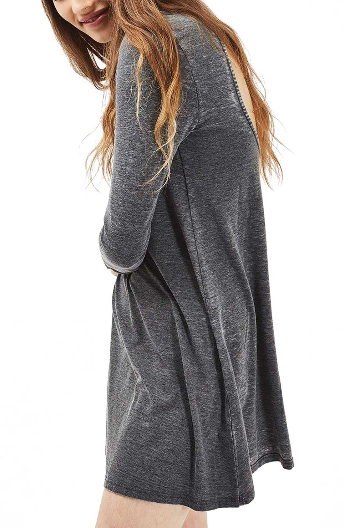 Open Back Tunic Dress,                         Main,                         color, Washed Black