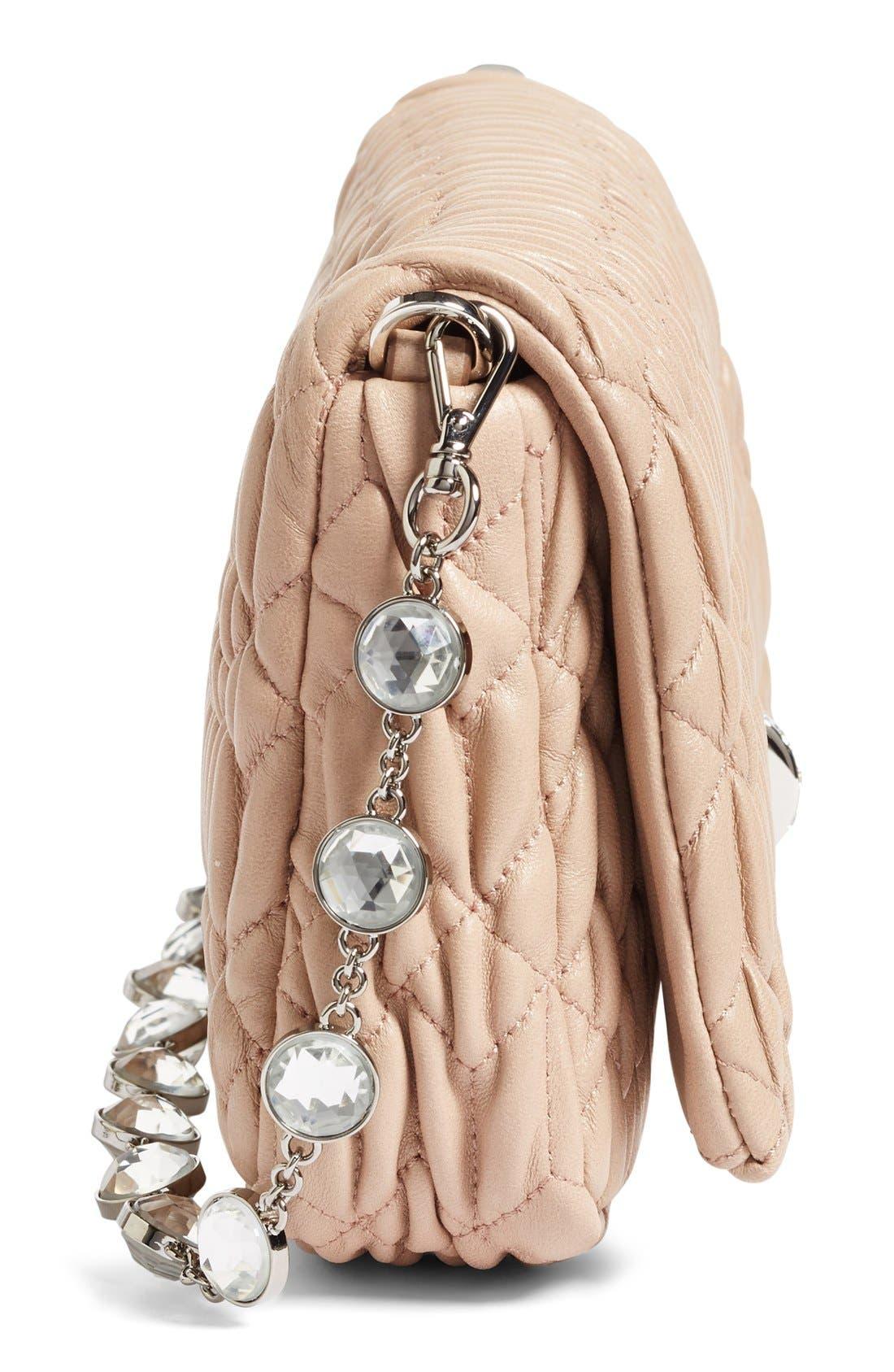 Small Crystal Embellished Nappa Shoulder Bag,                             Alternate thumbnail 5, color,                             Cammeo