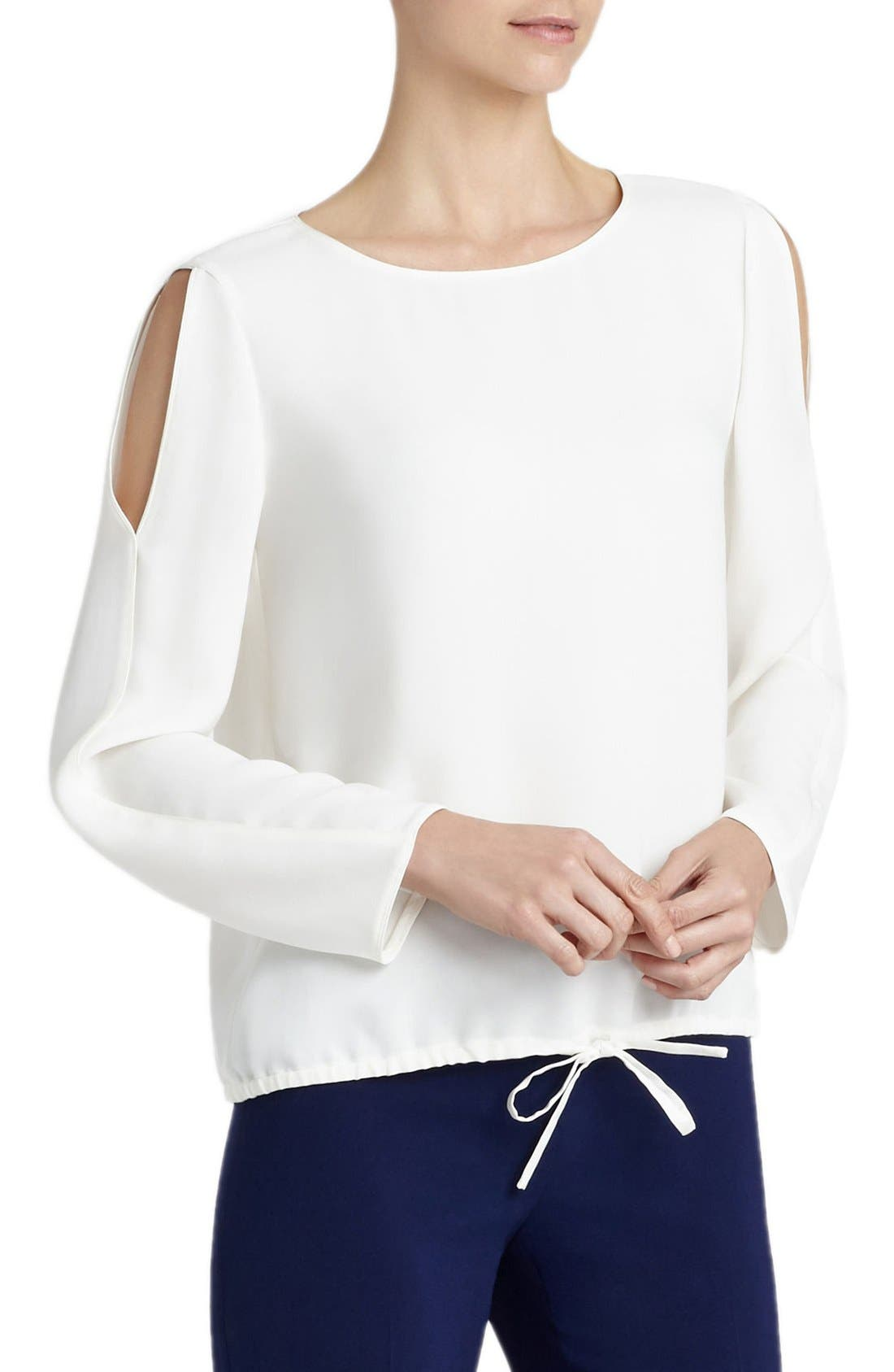 Alternate Image 3  - Lafayette 148 New York Maxina Silk Cold Shoulder Blouse