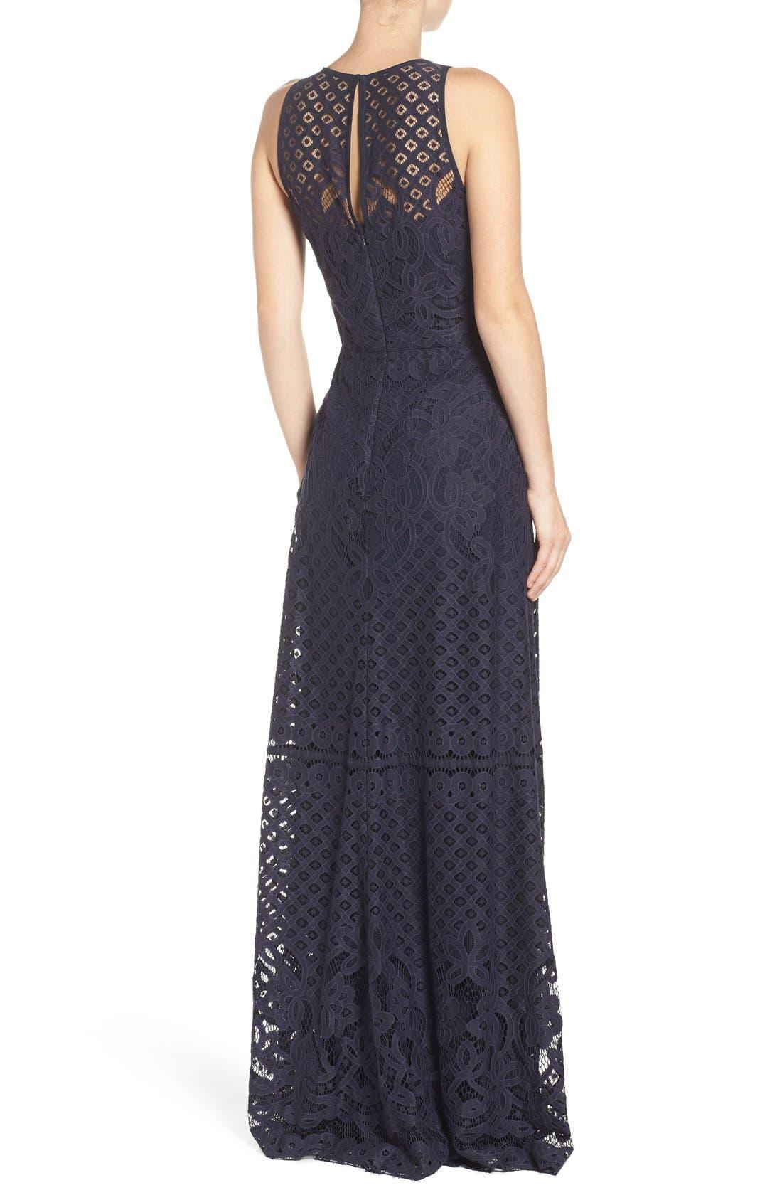 Alternate Image 2  - Vera Wang Illusion Yoke Lace Maxi Dress