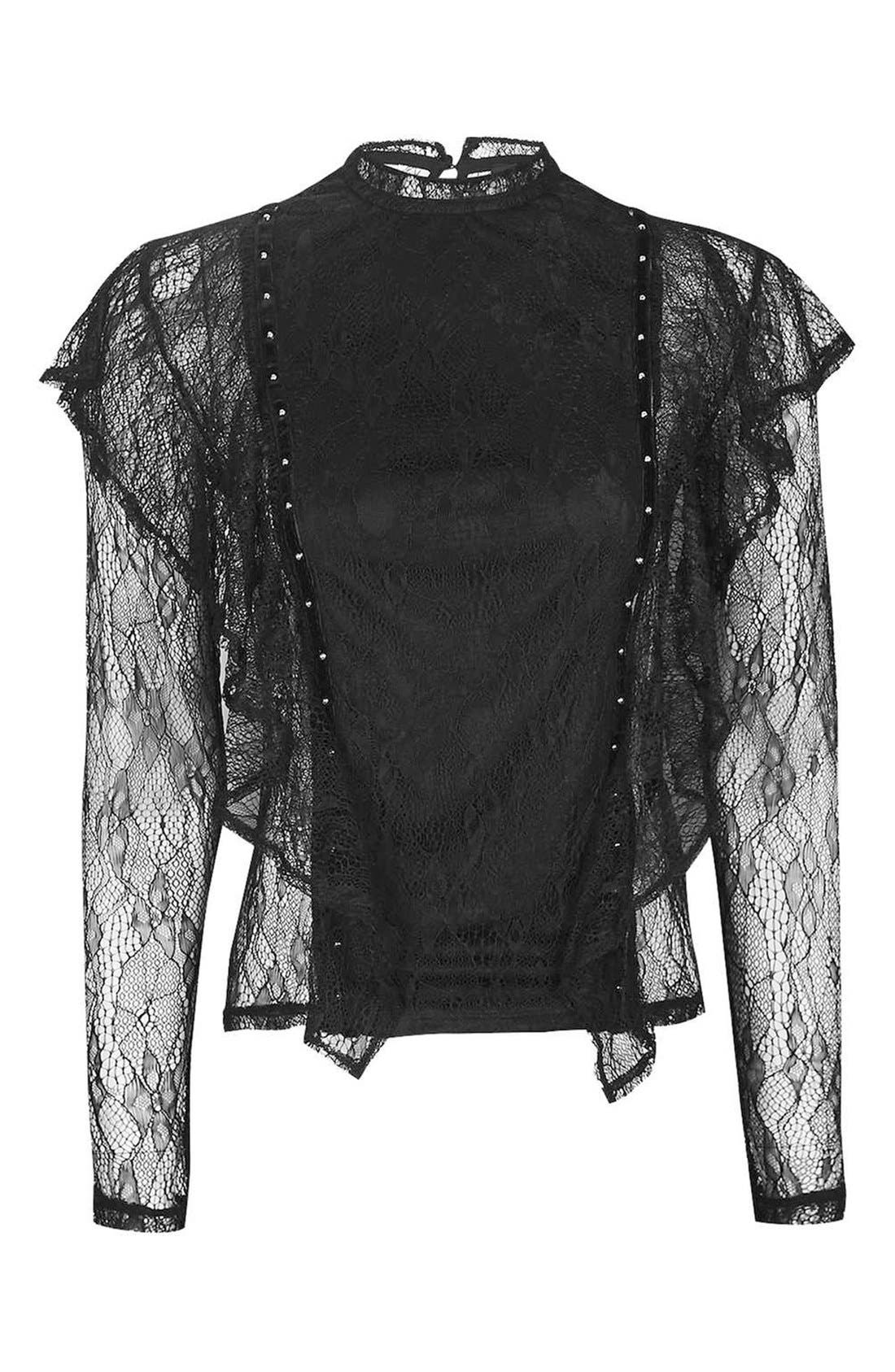 Alternate Image 5  - Topshop Ruffle Stud Lace Top