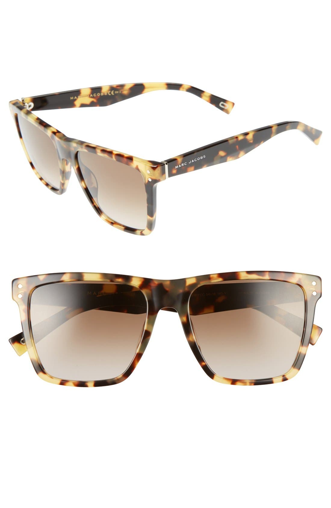 54mm Flat Top Gradient Square Frame Sunglasses,                         Main,                         color, Spotted Havana