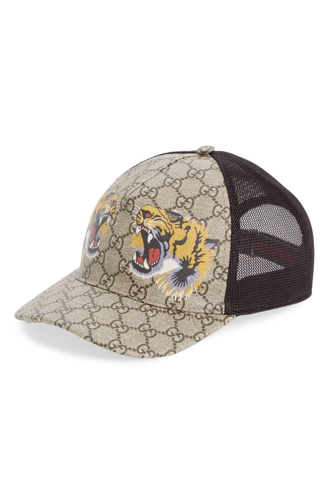 gucci cap. gucci tiger logo print baseball cap
