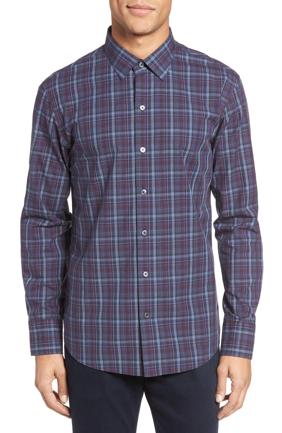 Main Image - Zachary Prell Bulatao Trim Fit Plaid Sport Shirt