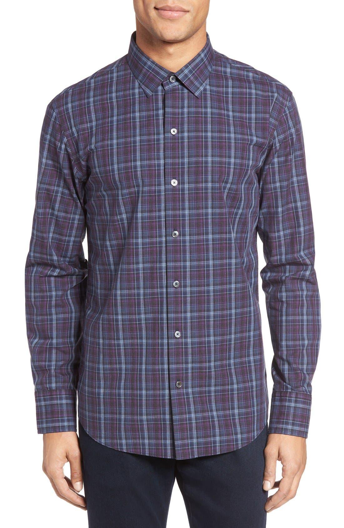 Bulatao Trim Fit Plaid Sport Shirt,                         Main,                         color, Purple
