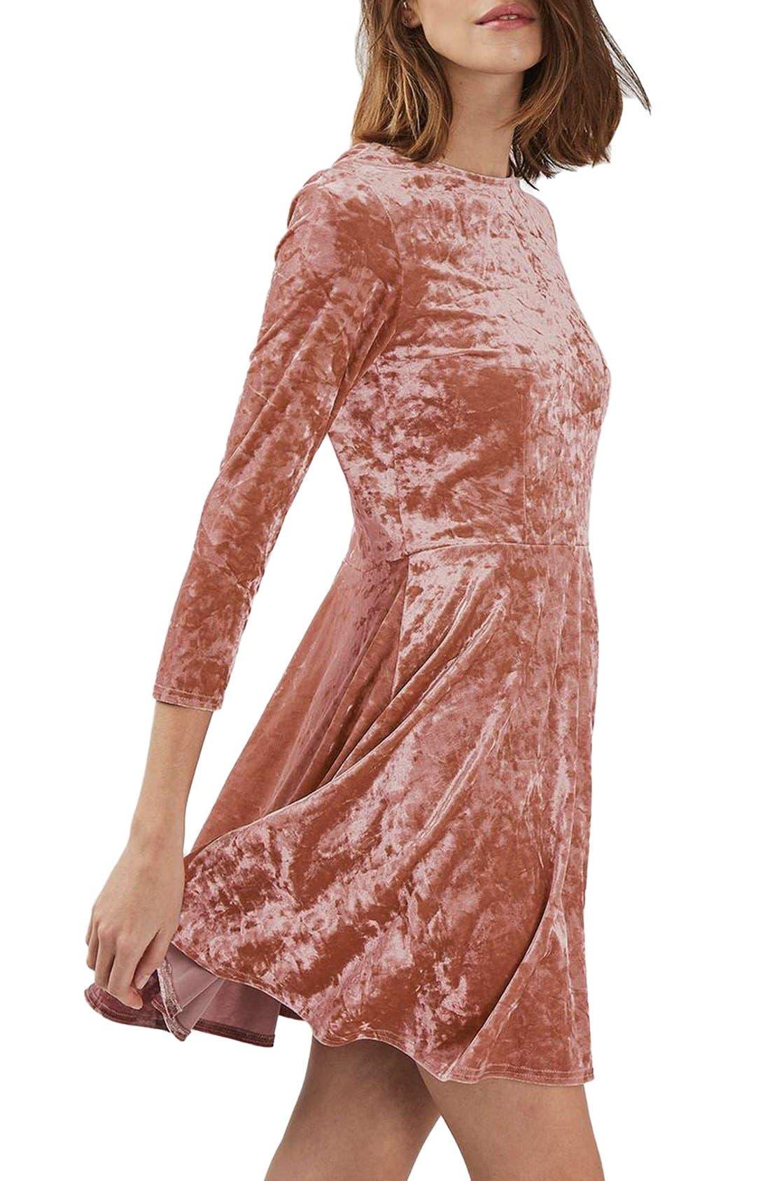 Crushed Velvet Dress,                         Main,                         color, Pink