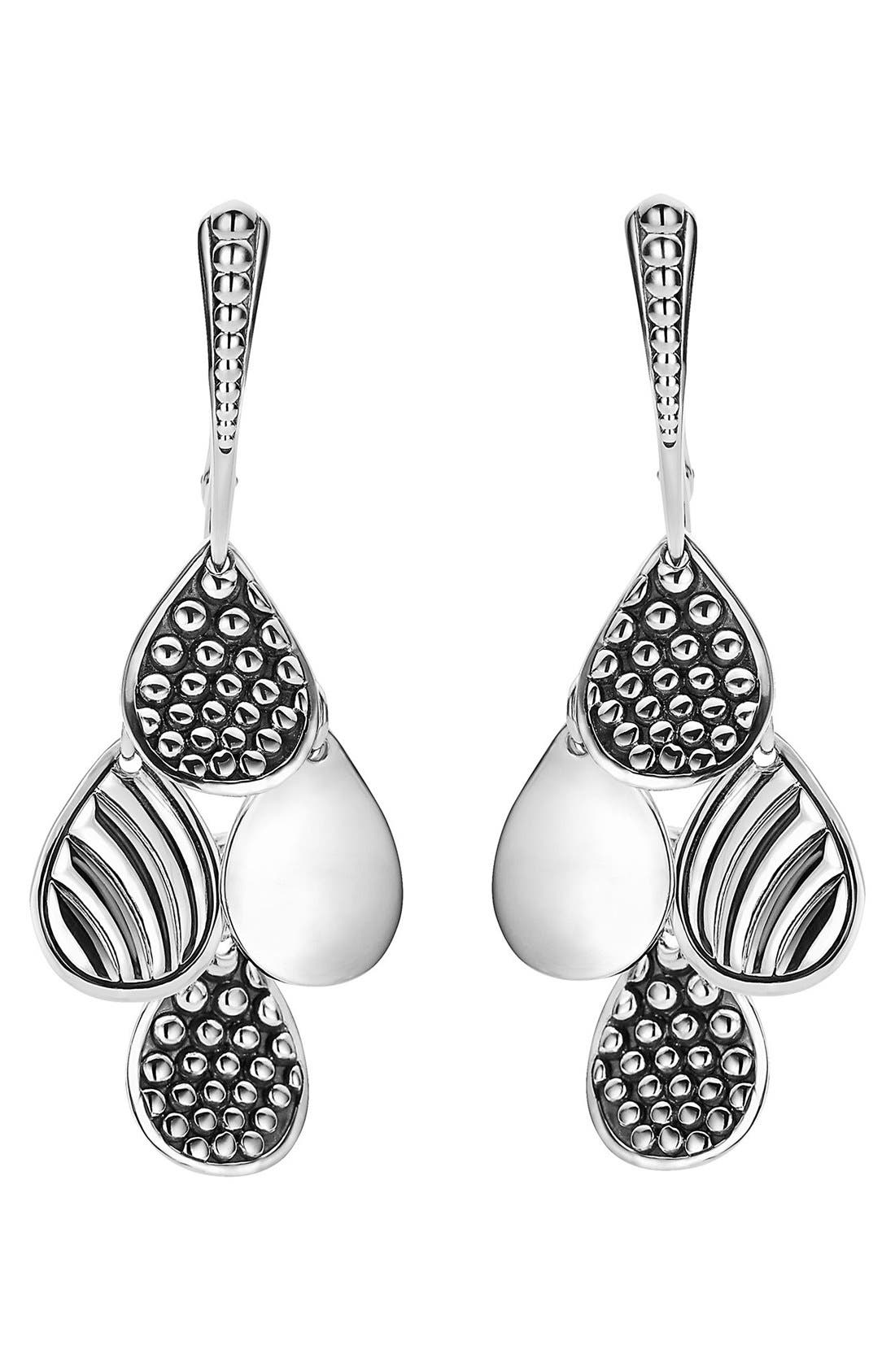 Caviar Tiered Drop Earrings,                             Alternate thumbnail 2, color,                             Silver