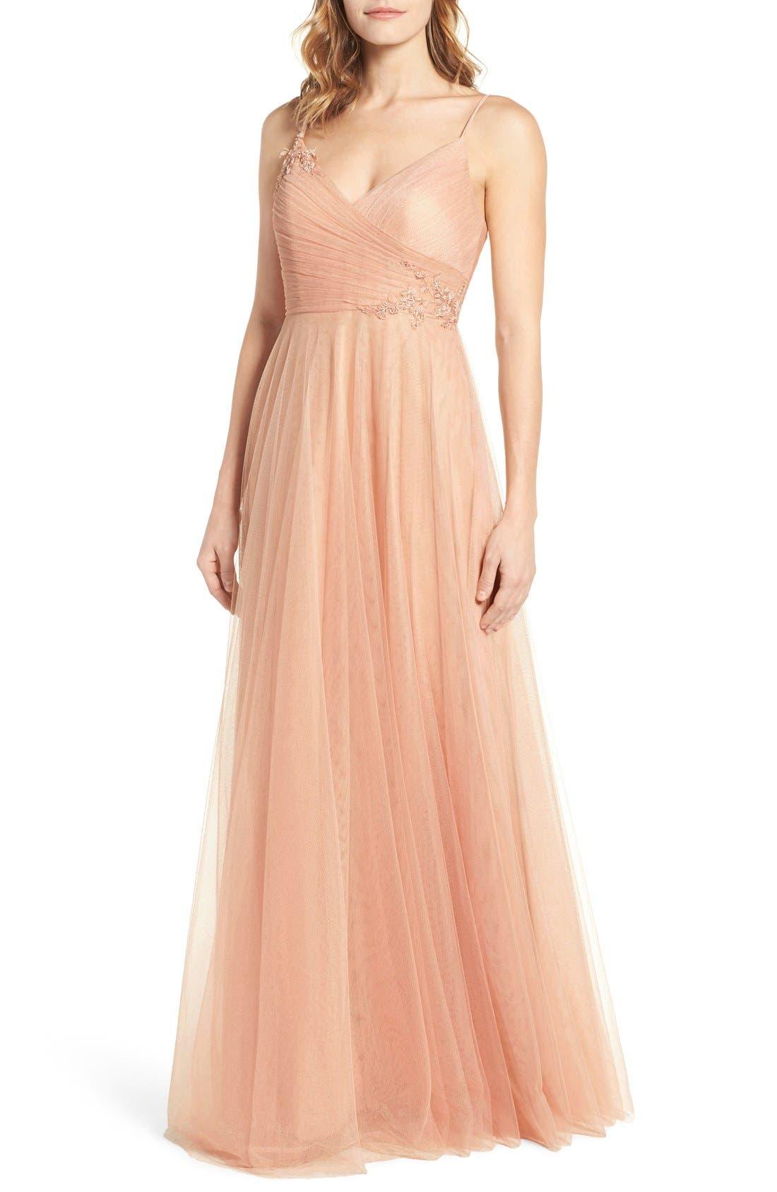 Brielle Tulle Gown,                         Main,                         color, Blush