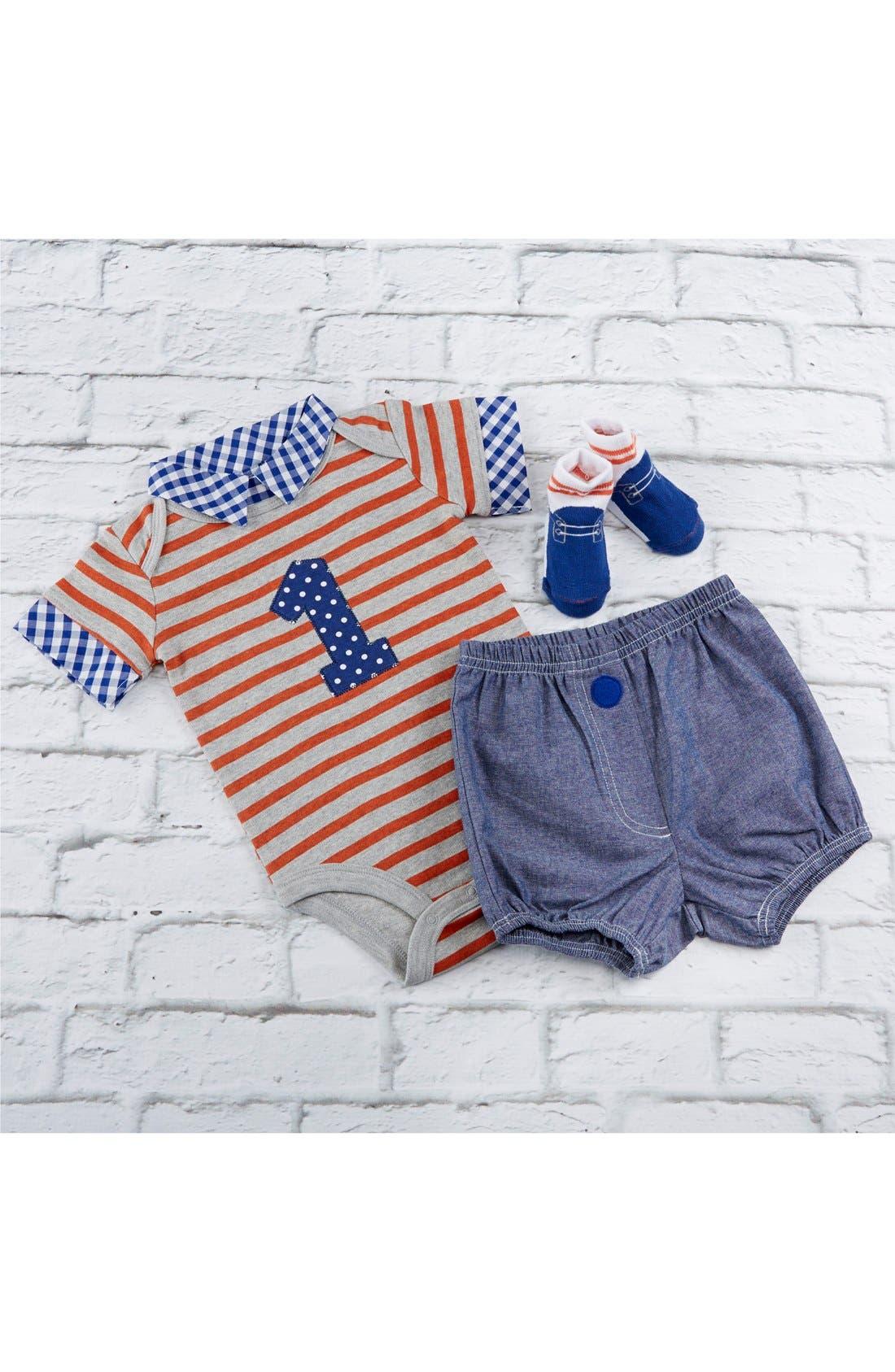 Alternate Image 2  - Baby Aspen My First Birthday Bodysuit, Shorts & Socks Set (Baby Boys)