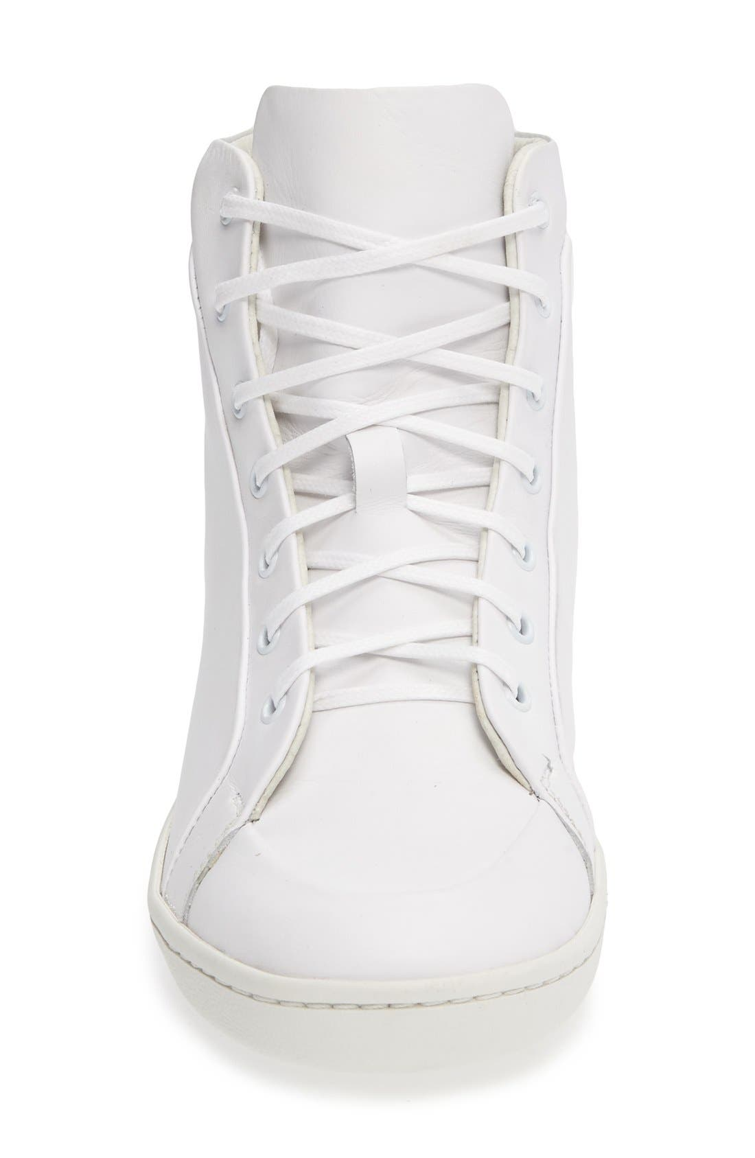 Molly High Top Sneaker,                             Alternate thumbnail 3, color,                             White Leather
