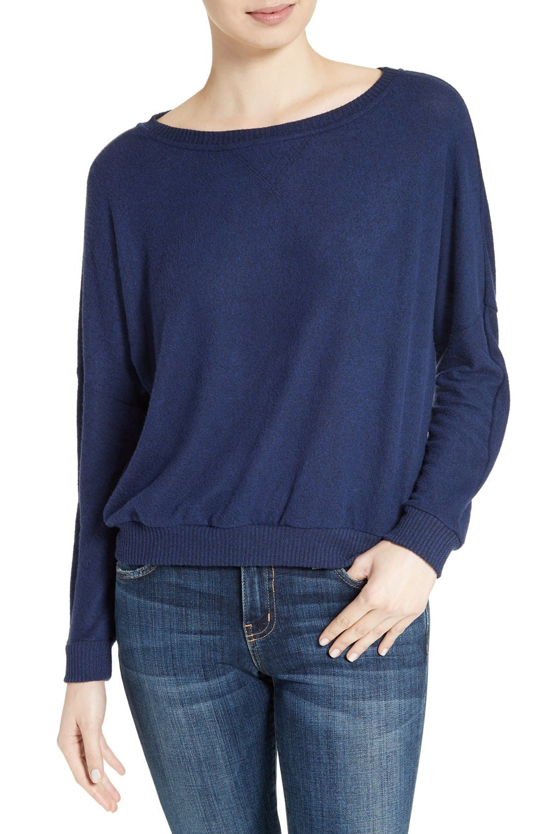 Soft Joie Giardia Drop Shoulder Sweater,                             Main thumbnail 1, color,                             Peacoat