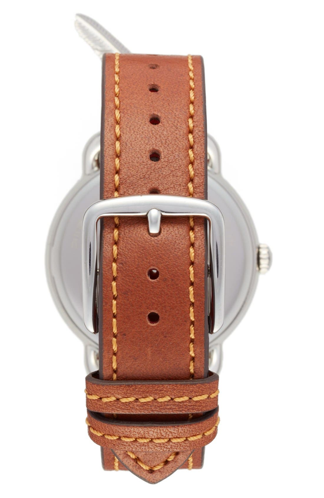 Delancey Leather Strap Watch, 36mm,                             Alternate thumbnail 3, color,                             Brown/ White