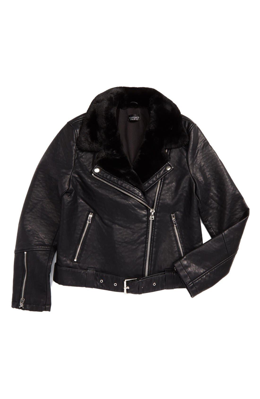 Alternate Image 6  - Topshop Vardy Faux Leather Biker Jacket
