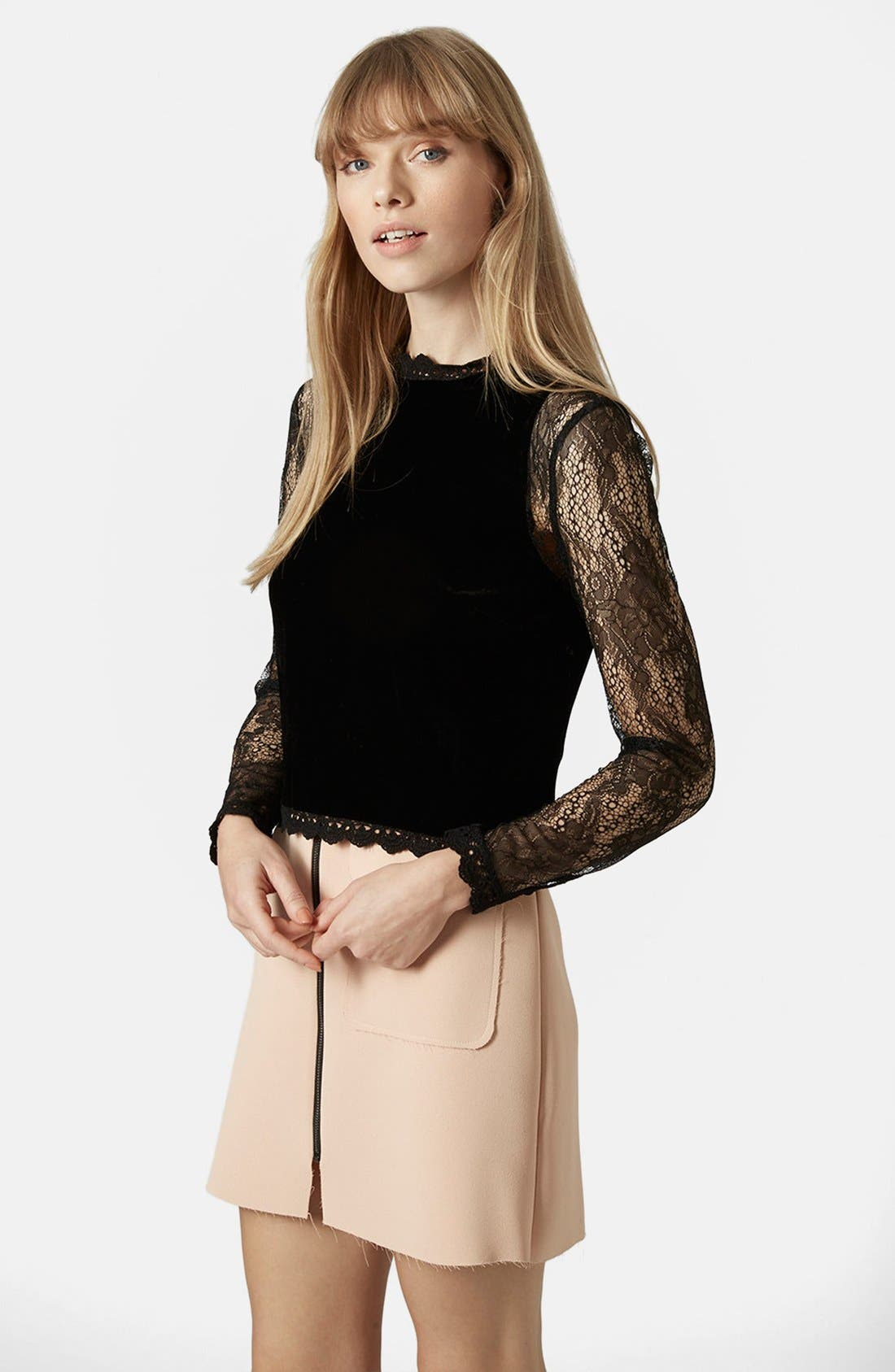 Main Image - Topshop Lace Sleeve Velvet Top