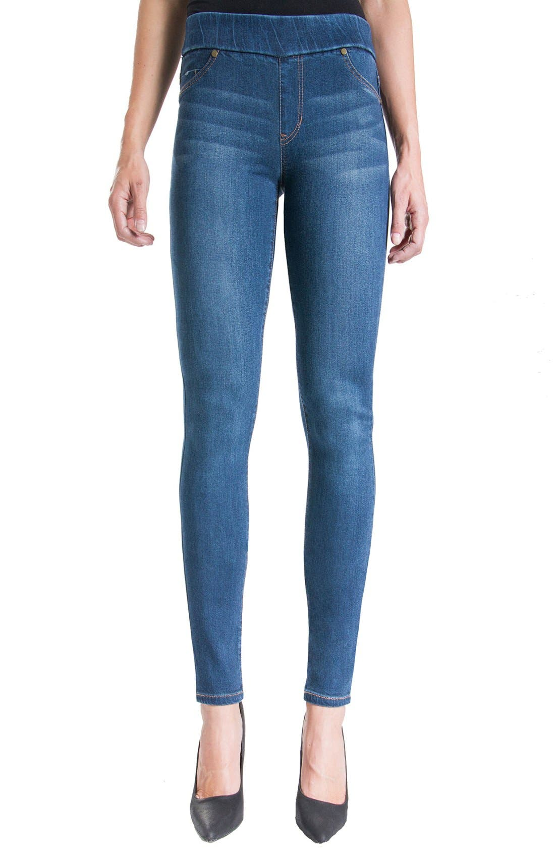 Liverpool Jeans Company Sienna Mid Rise Soft Stretch Denim Leggings (Petrol)