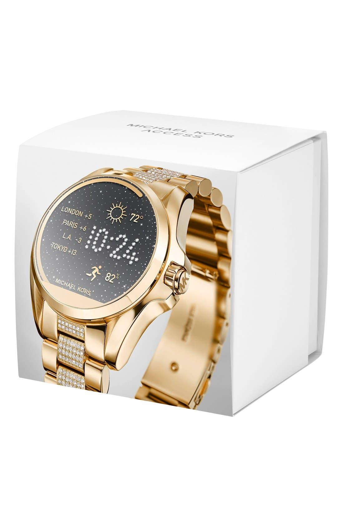 MICHAEL Michael Kors Bradshaw Access Bracelet Smart Watch, 45mm,                             Alternate thumbnail 5, color,                             Gold/ Silver