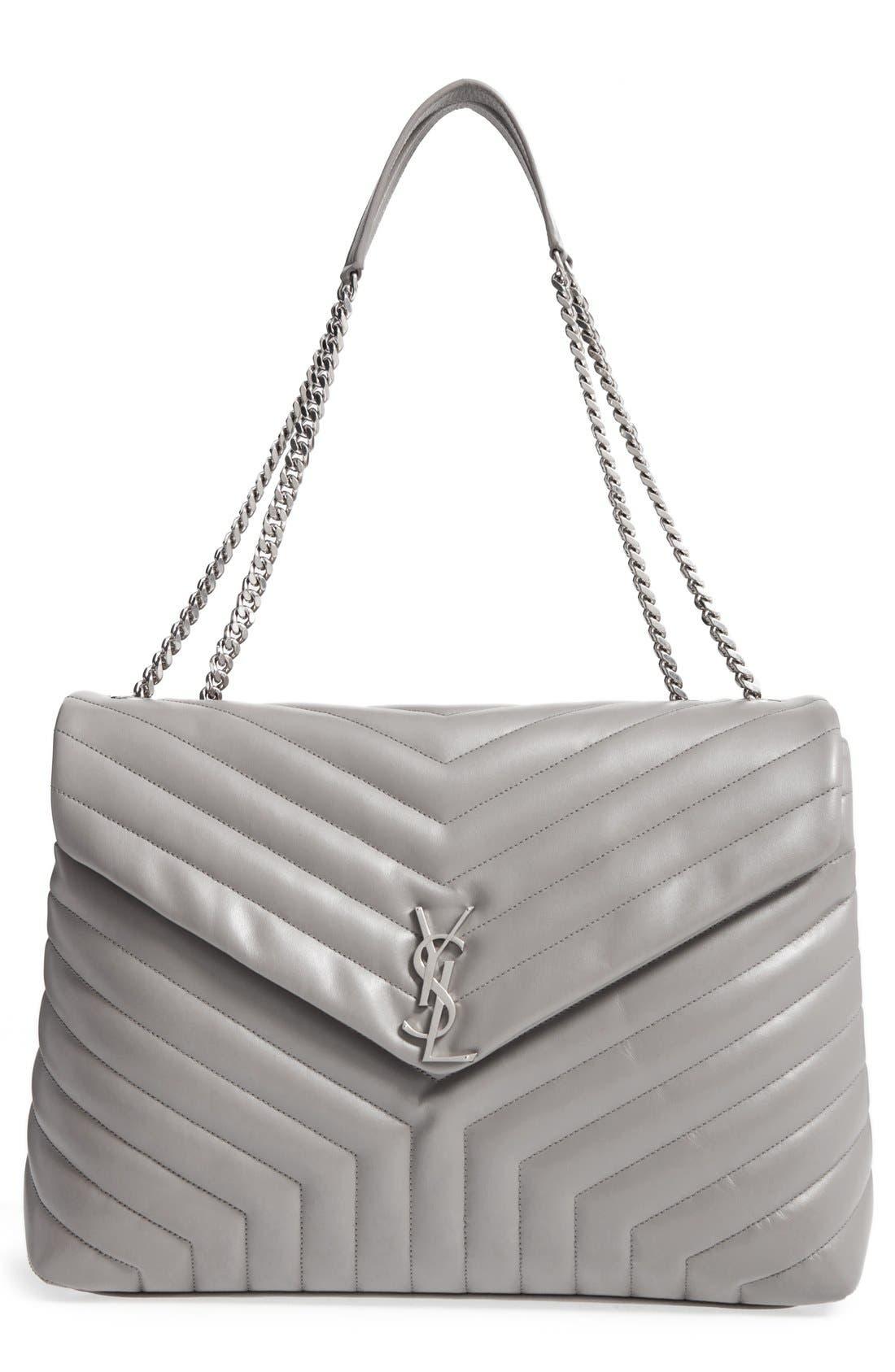 Alternate Image 1 Selected - Saint Laurent Monogram Quilted Leather Slouchy Shoulder Bag