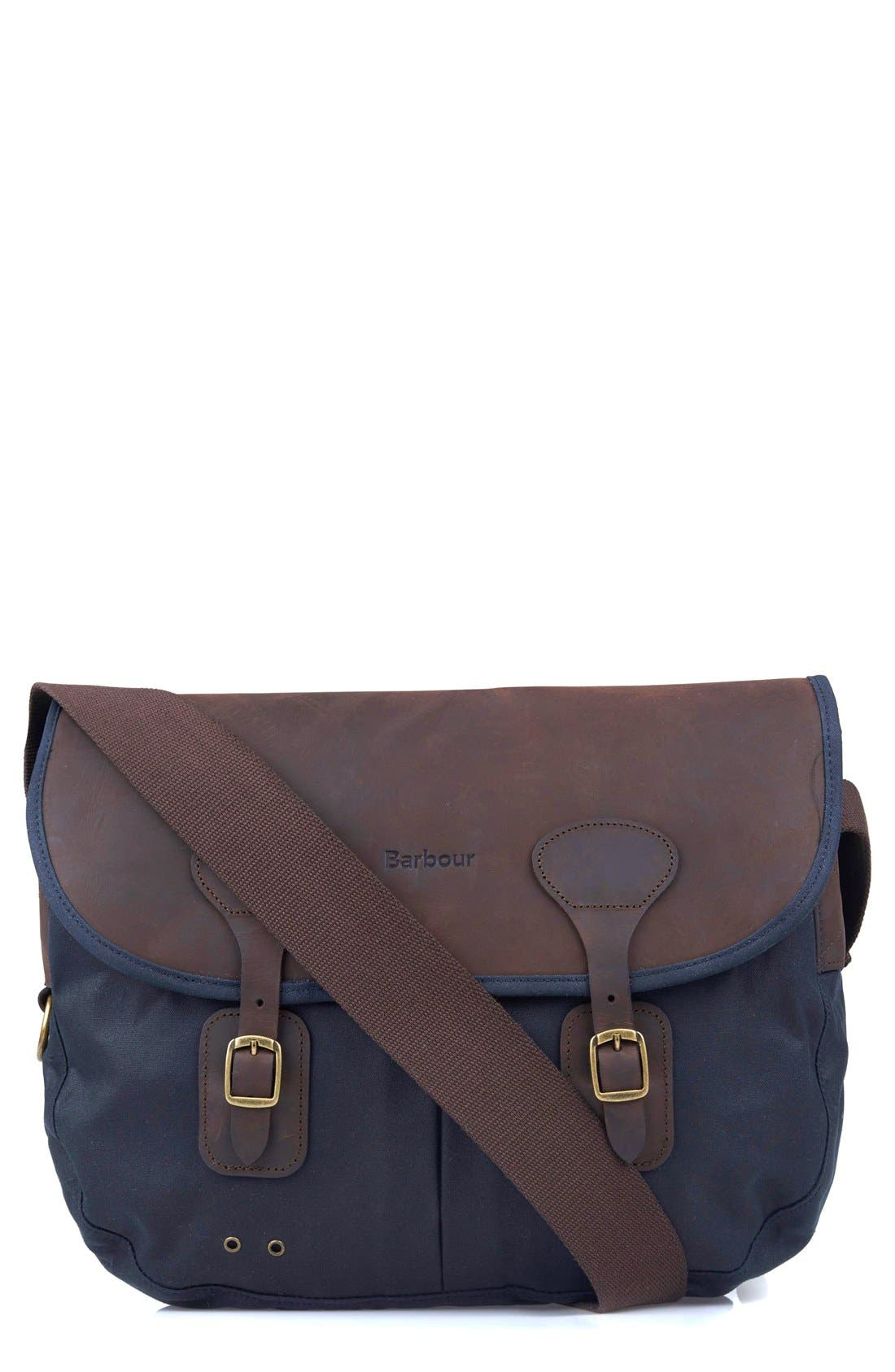 Waxed Canvas Tarras Bag,                             Main thumbnail 1, color,                             Navy