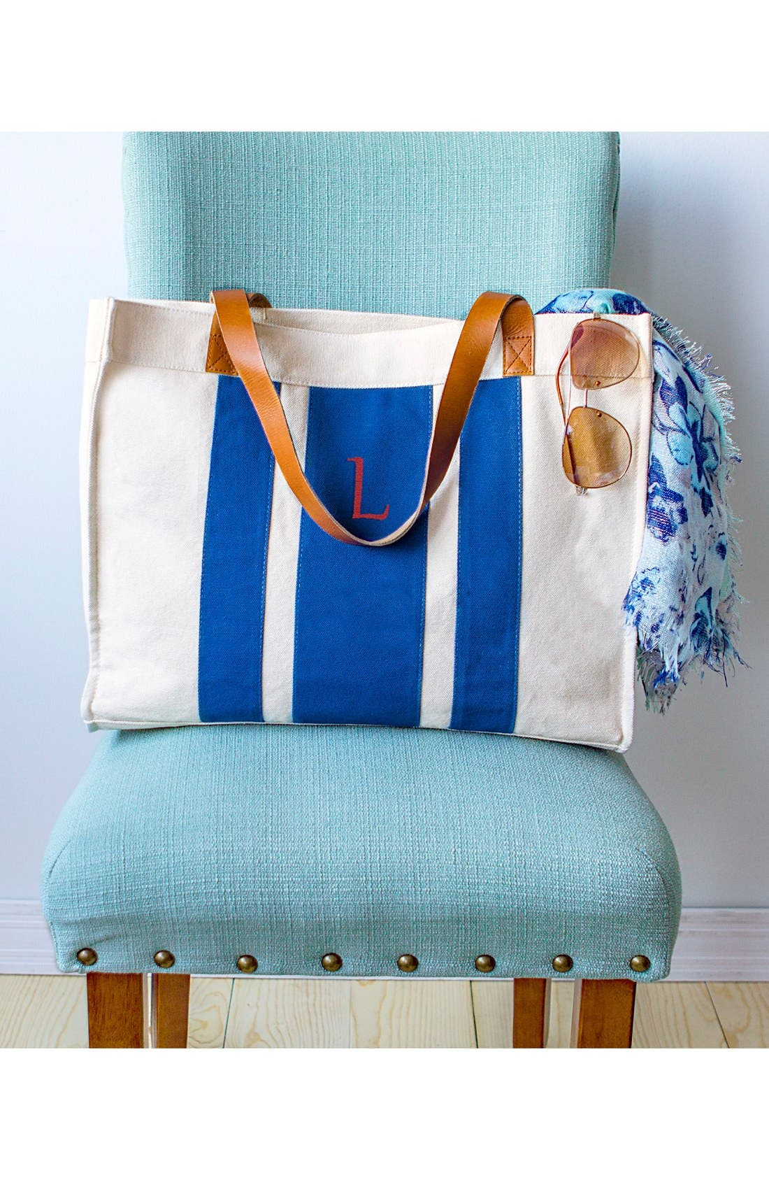 Alternate Image 6  - Cathy's Concepts Monogram Canvas Tote