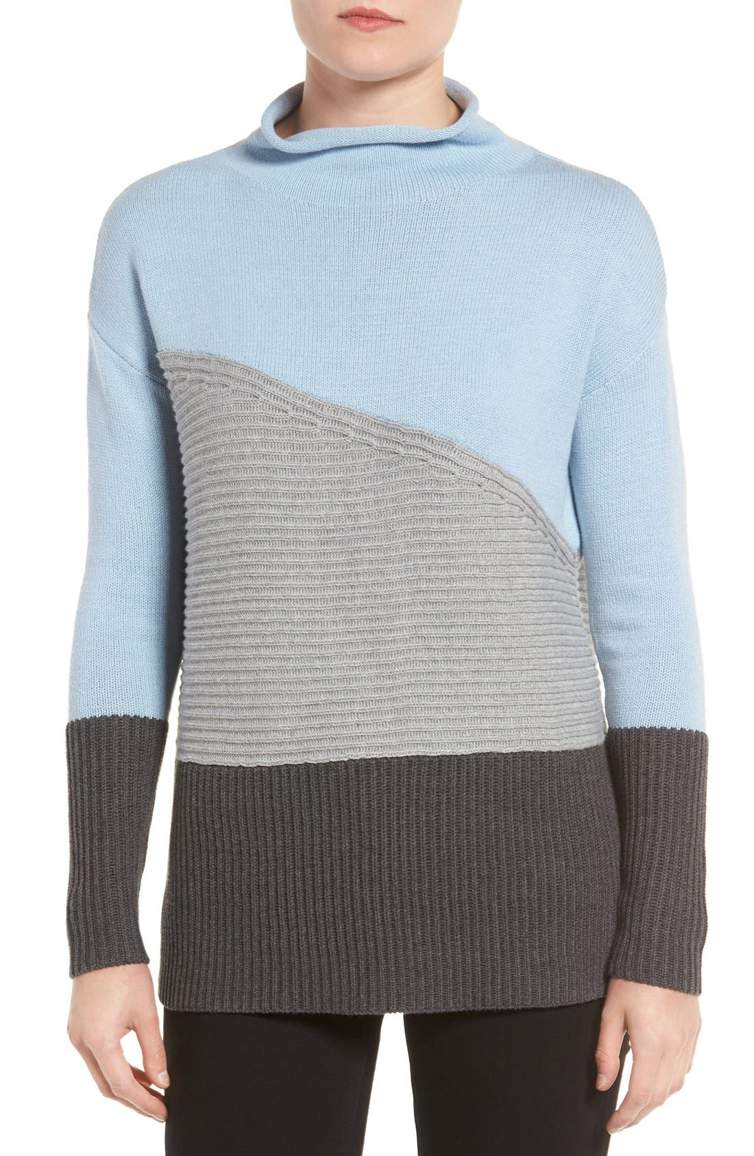 Main Image - Vince Camuto Colorblock Turtleneck Sweater (Regular & Petite)