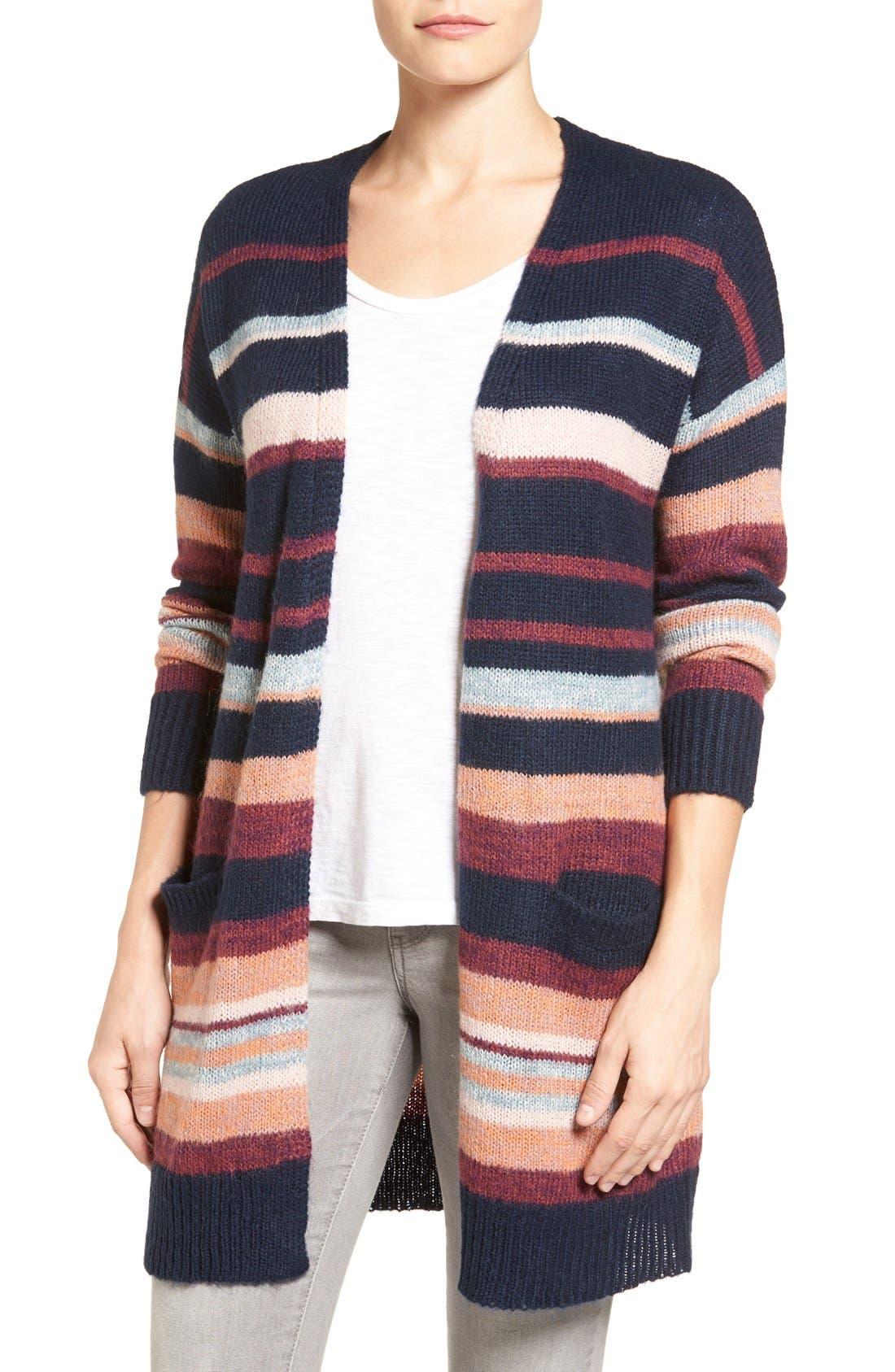 Alternate Image 1 Selected - Caslon® Long Stripe Cardigan