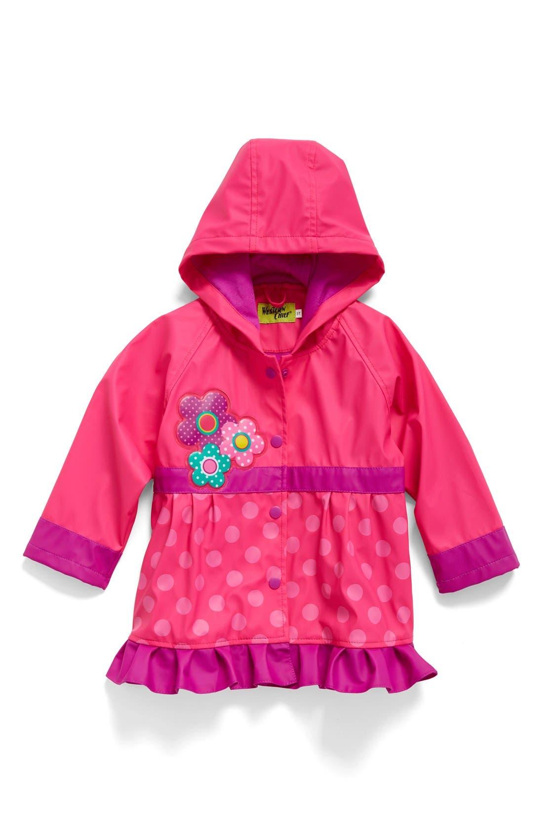 Flower Cutie Raincoat,                         Main,                         color, Pink