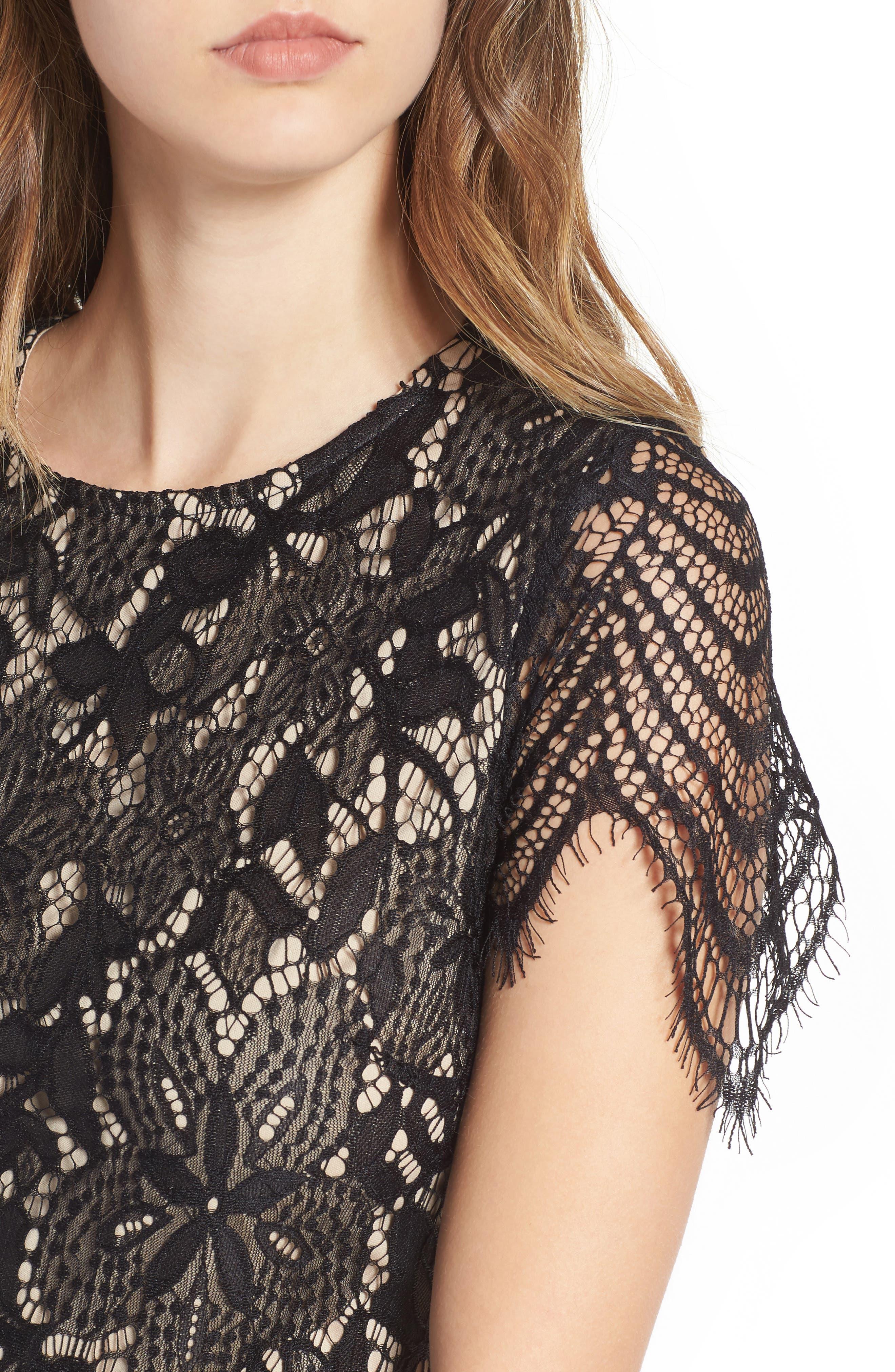 Scallop Lace Dress,                             Alternate thumbnail 4, color,                             Black