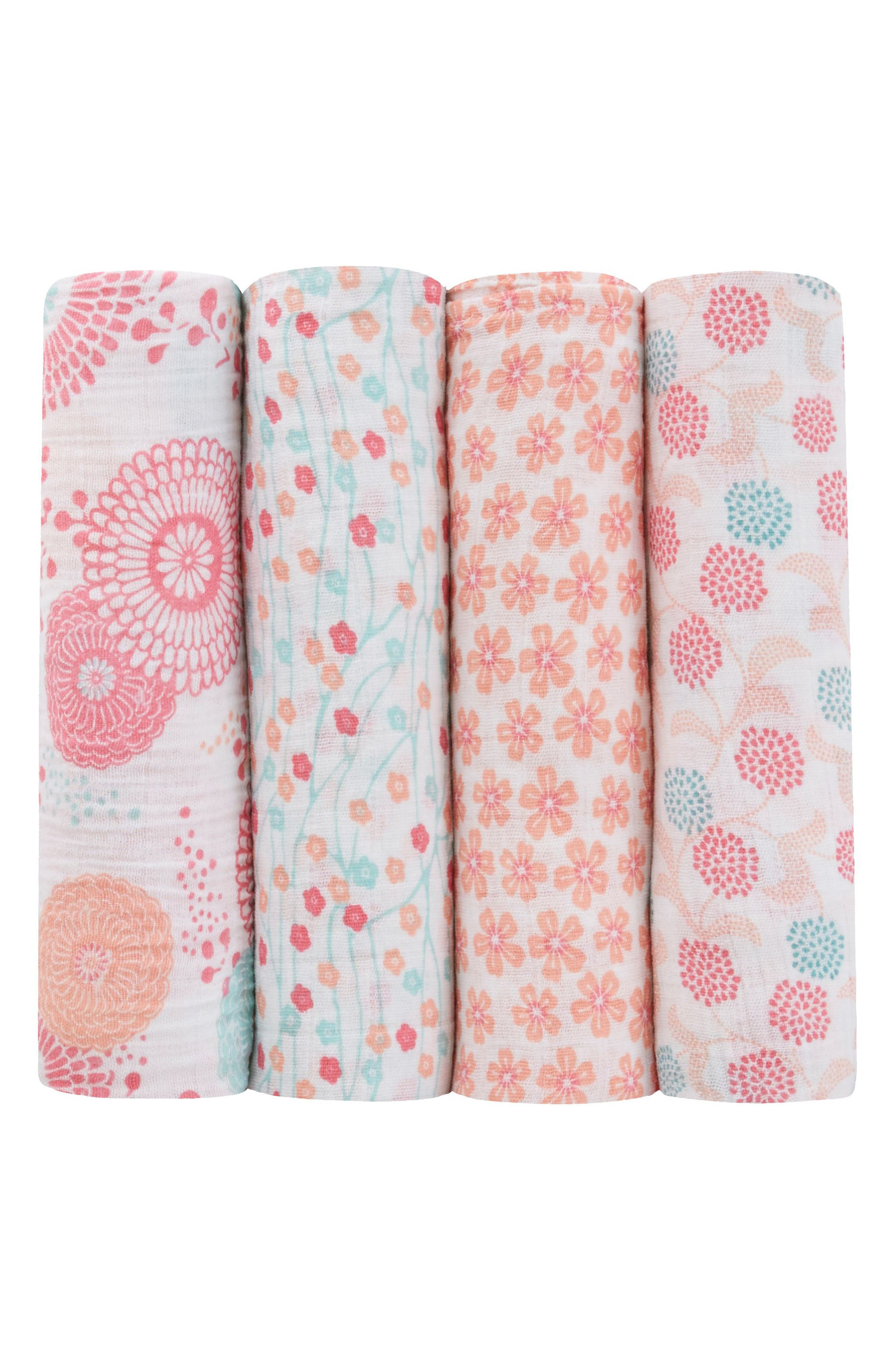 aden + anais x Tea Collection 4-Pack Swaddling Cloths