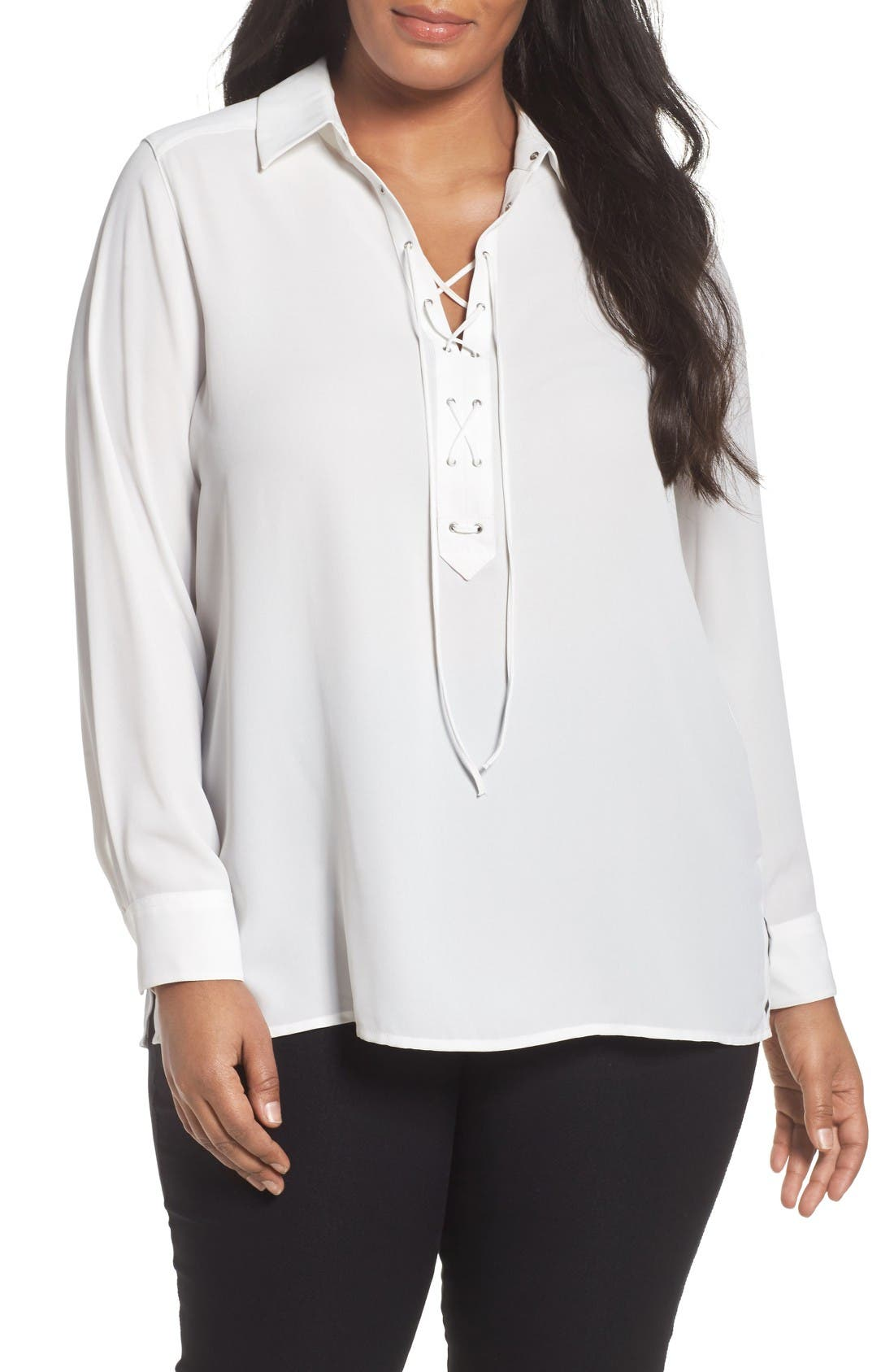 Alternate Image 1 Selected - Foxcroft Lace-Up Blouse (Plus Size)