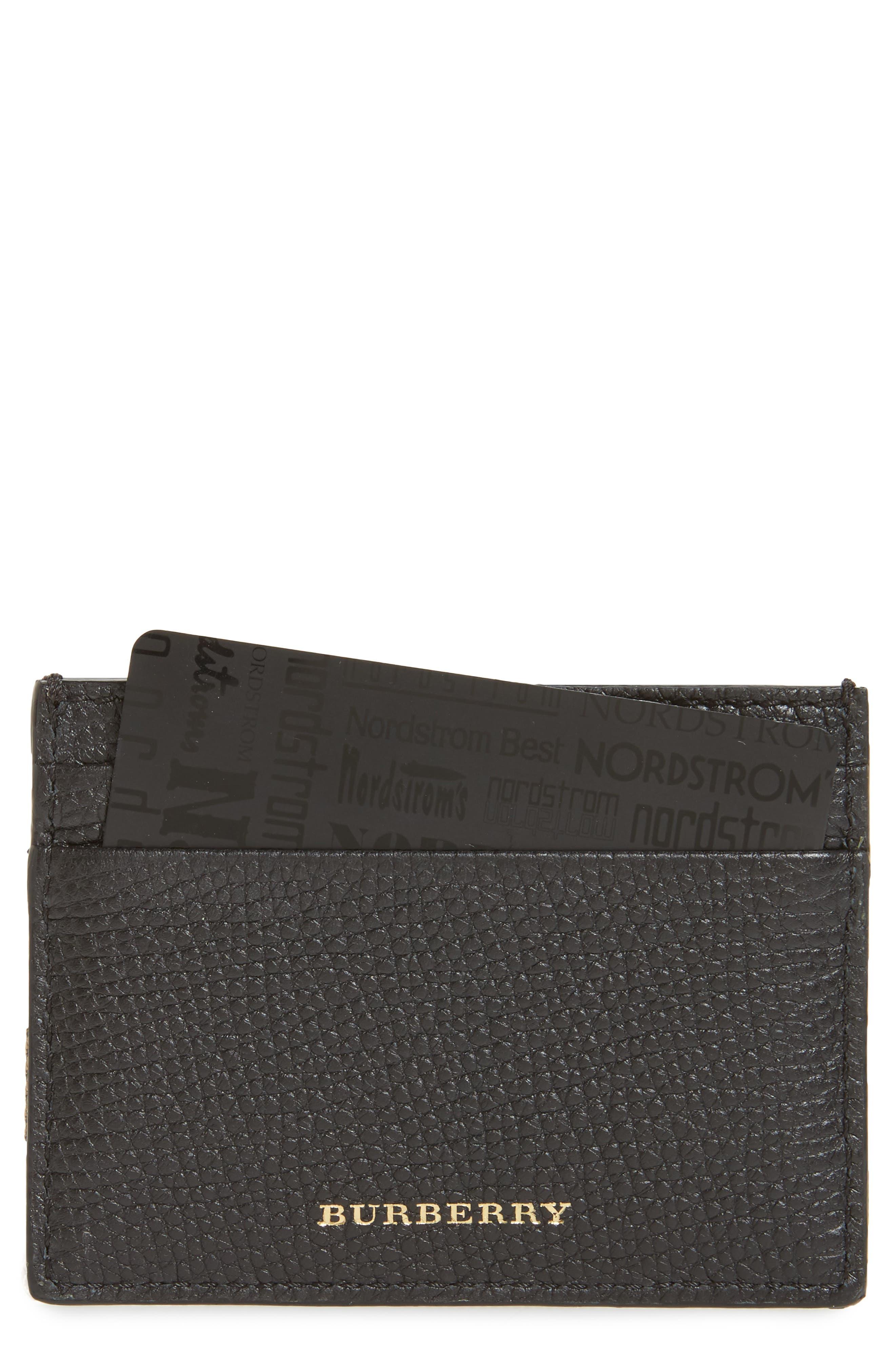 Sandon Leather Card Case,                         Main,                         color, Black