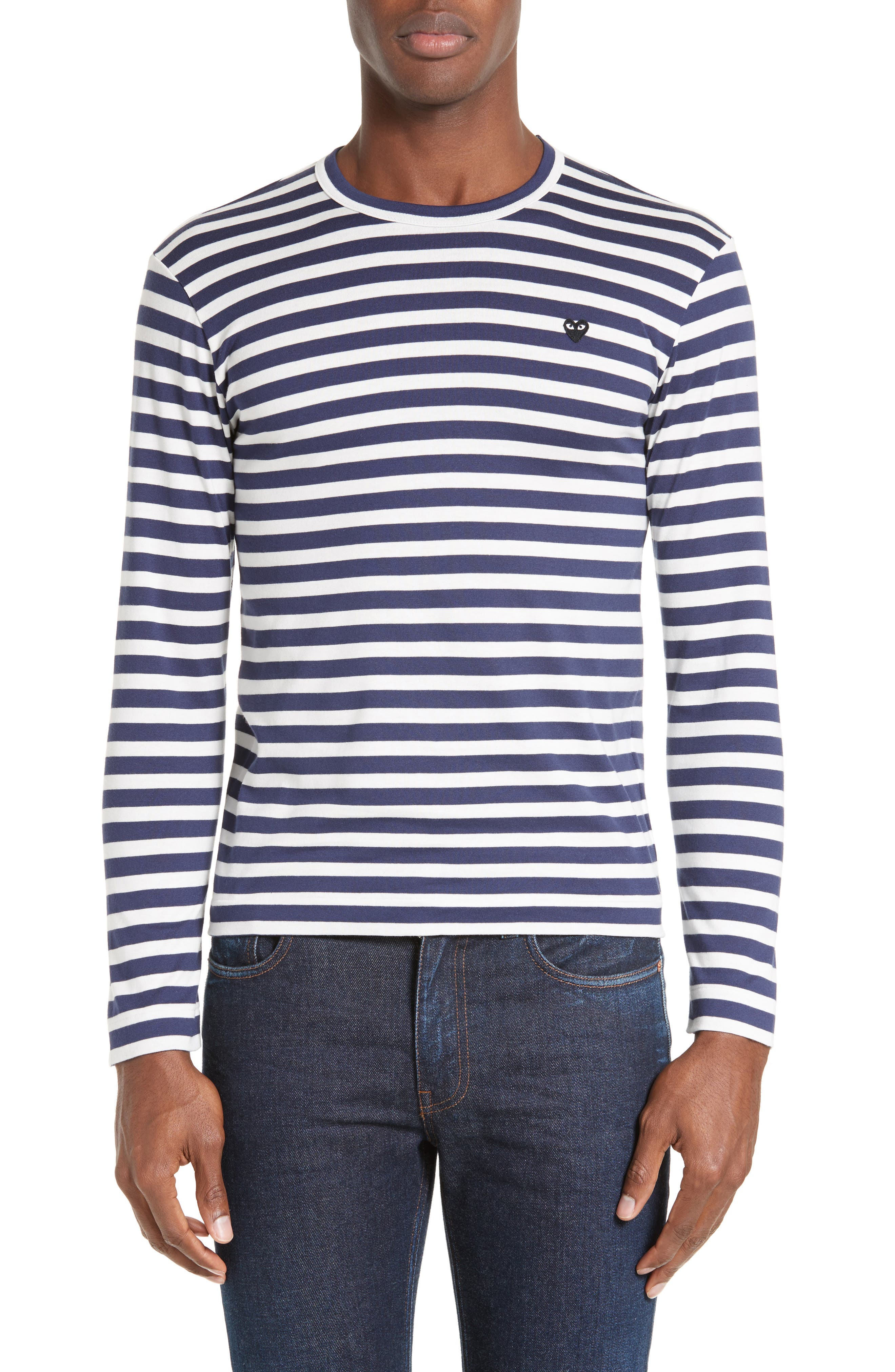 PLAY Stripe T-Shirt,                         Main,                         color, Navy/ White