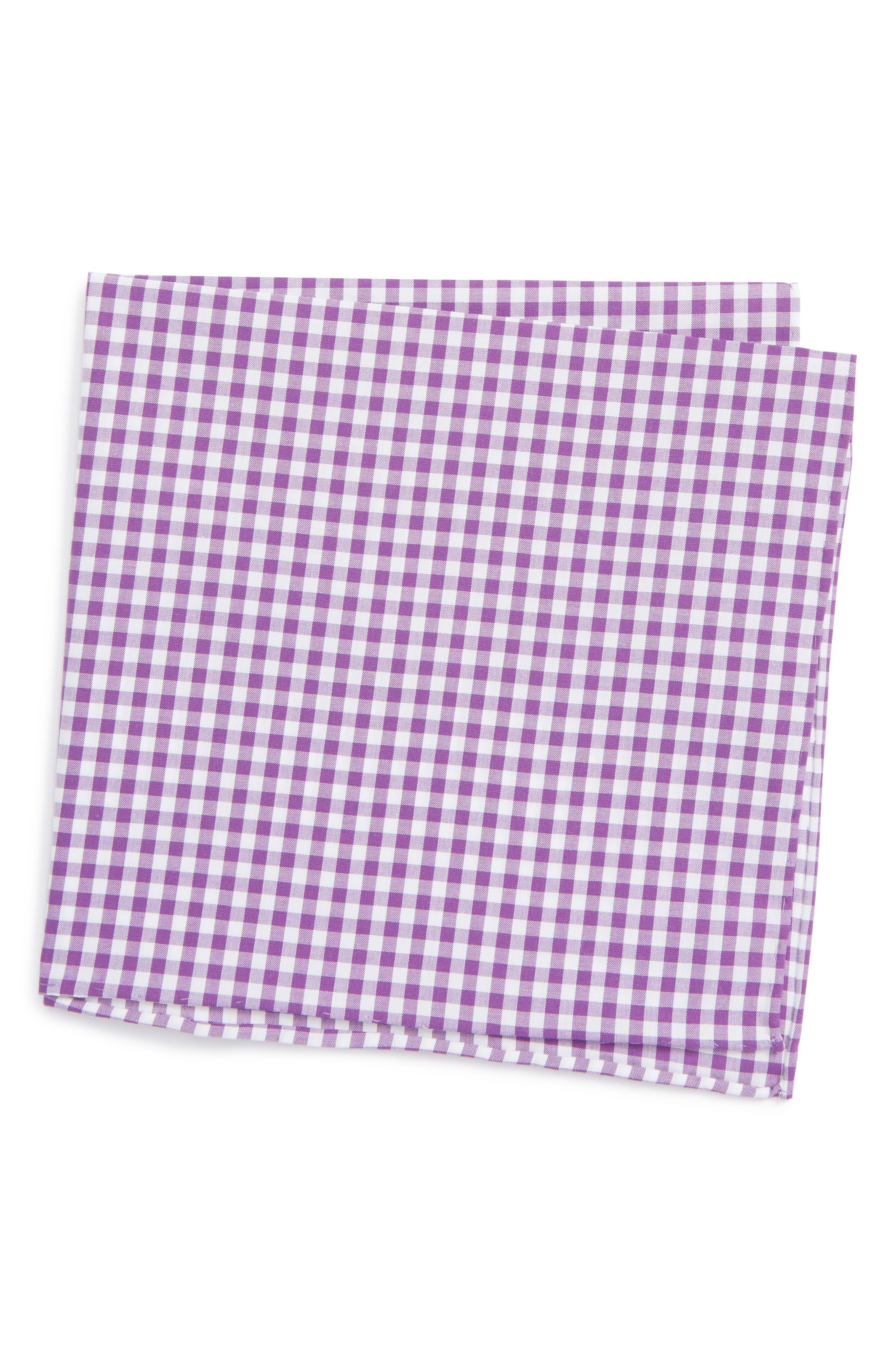 Novel Check Cotton Pocket Square,                         Main,                         color, Plum