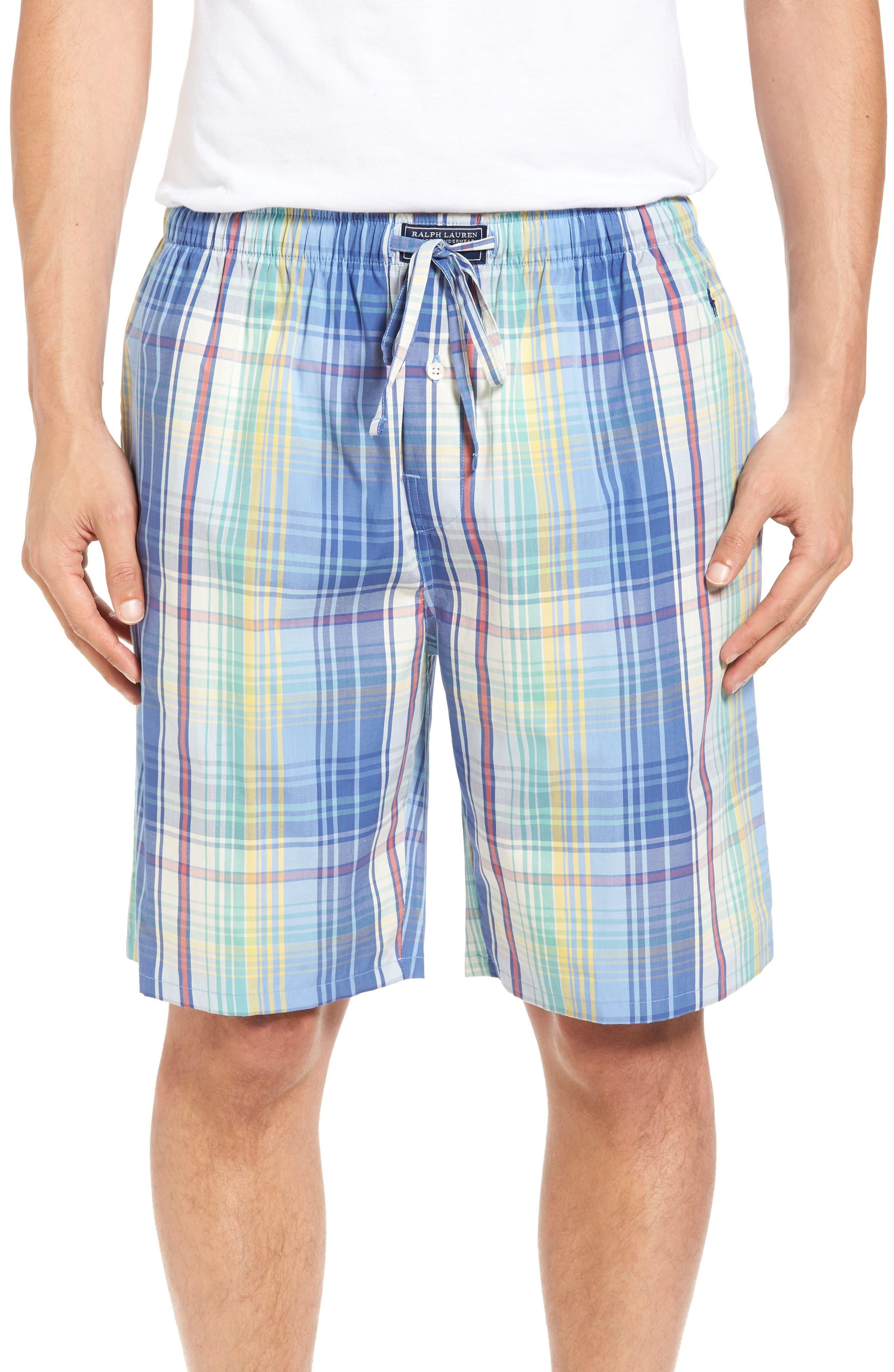 Cotton Pajama Shorts,                         Main,                         color, Avery Plaid