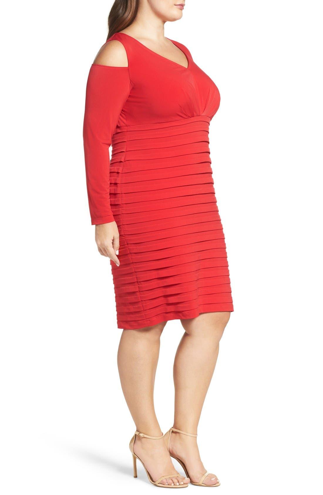 Alternate Image 3  - London Times Cold Shoulder Shutter Pleat Jersey Sheath Dress (Plus Size)