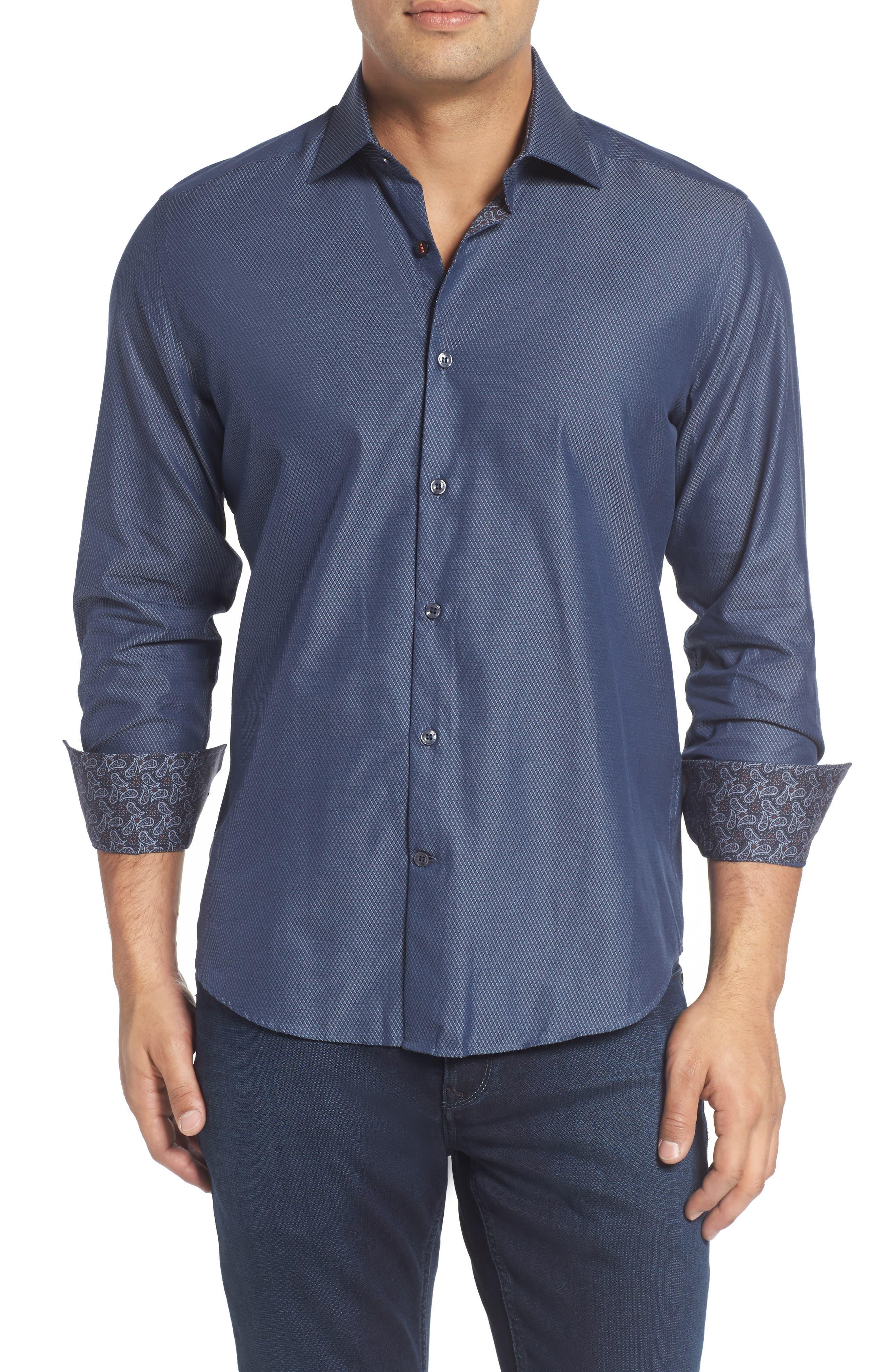 Slim Fit Diamond Jacquard Sport Shirt,                         Main,                         color, Blue