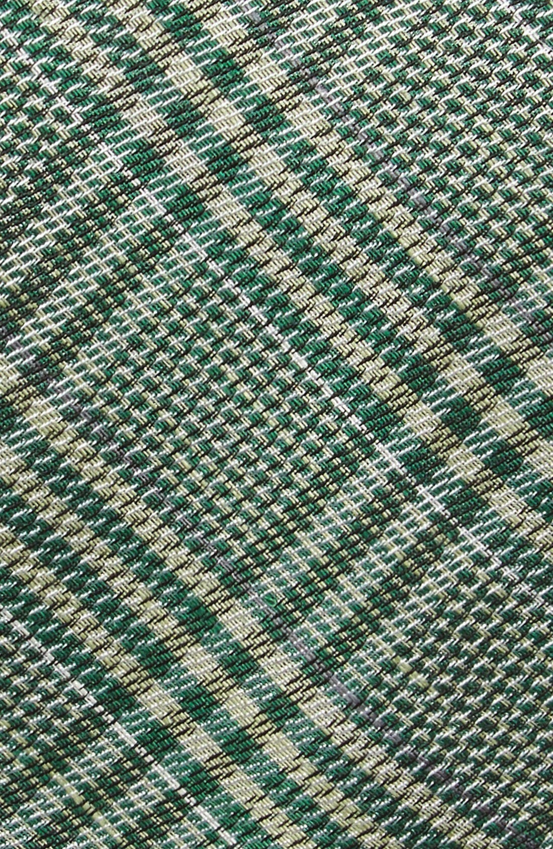 Columbus Plaid Linen & Silk Tie,                             Alternate thumbnail 2, color,                             Moss Green