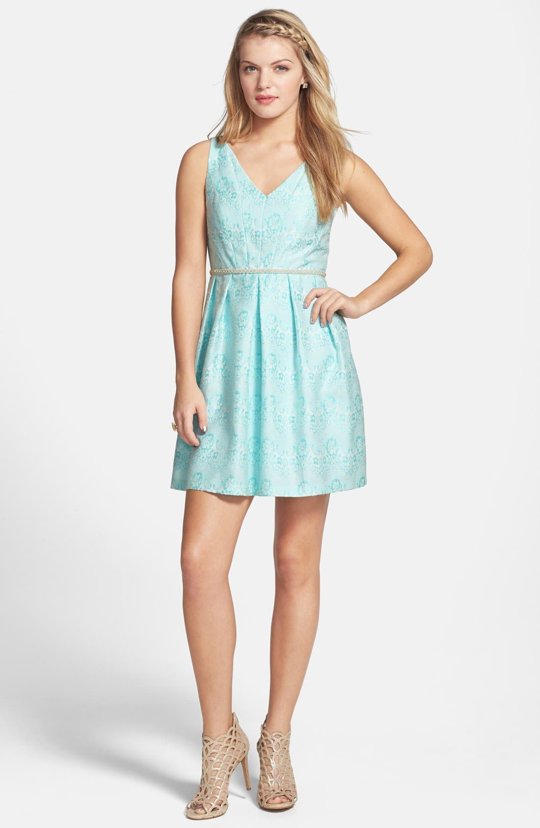 Alternate Image 1 Selected - a. drea Beaded Waist Jacquard Fit & Flare Dress (Juniors)