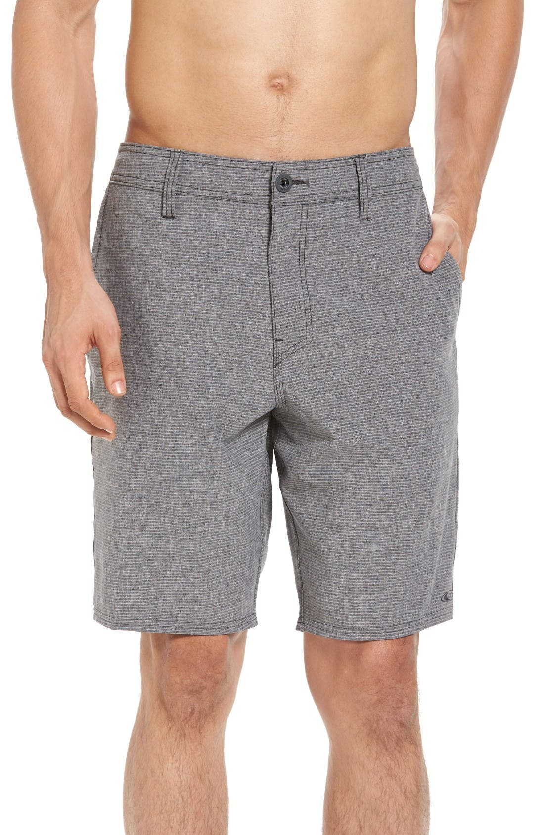 Locked Stripe Hybrid Shorts,                         Main,                         color, Black