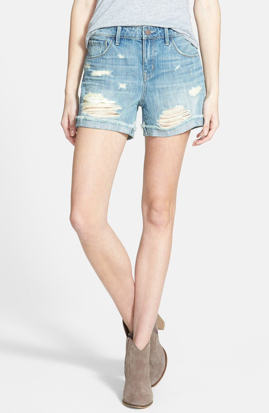 Treasure&Bond Cuffed Boyfriend Shorts,                             Main thumbnail 1, color,                             Beehive Light Destroy