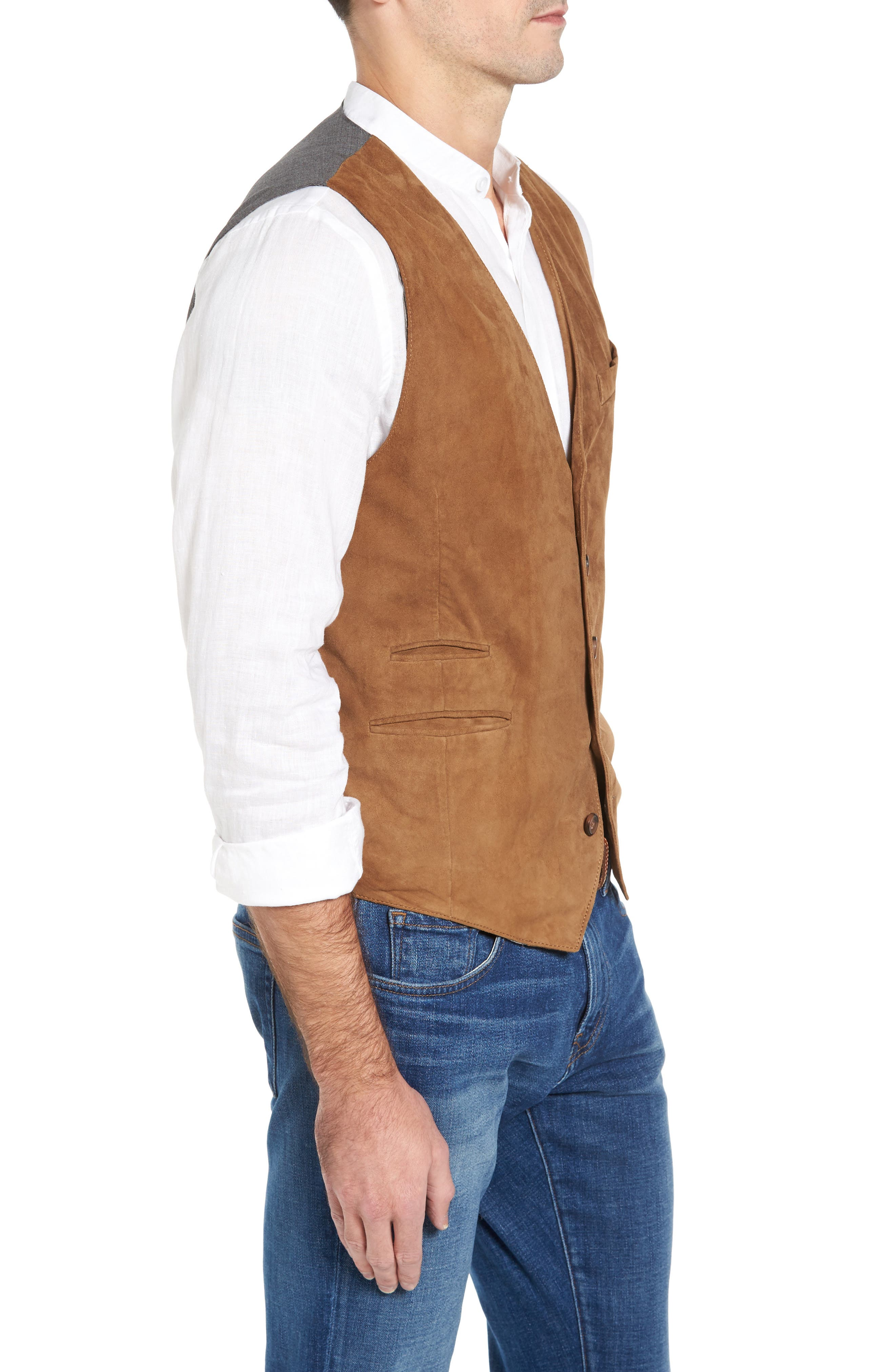 Lamb Front Vest,                             Alternate thumbnail 3, color,                             Tobacco
