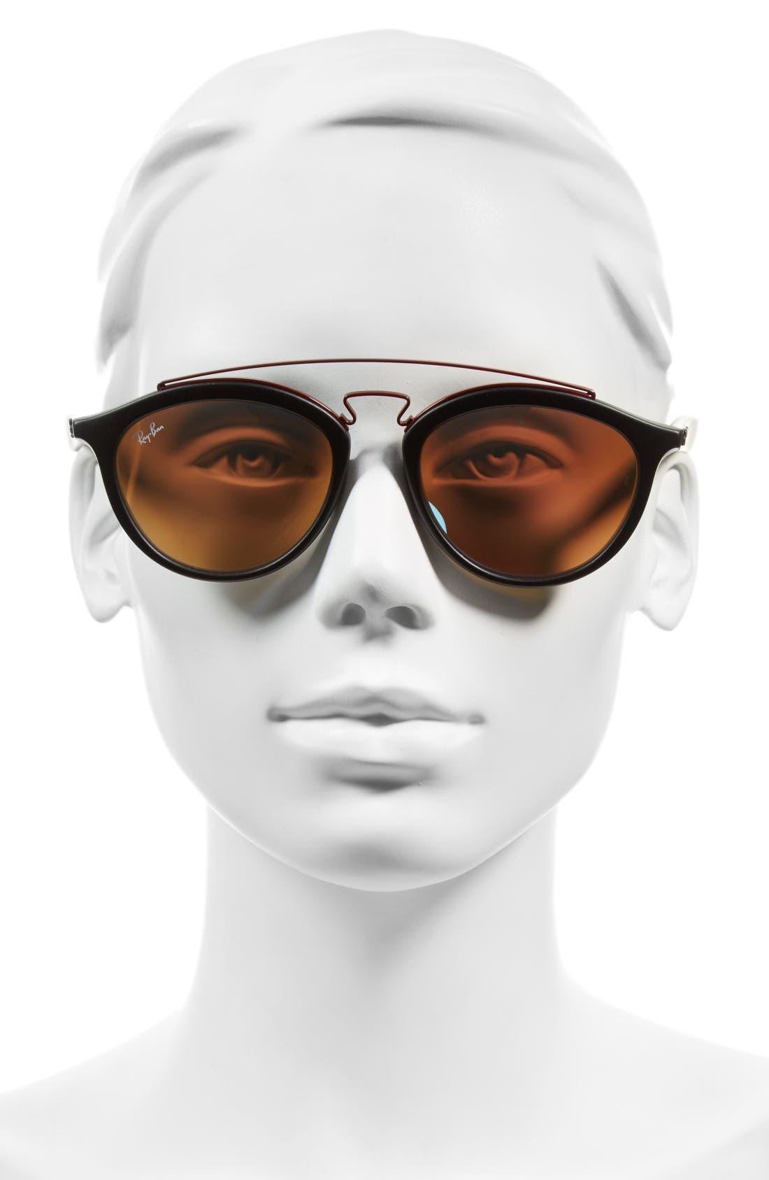 Icons 53mm Retro Sunglasses,                             Alternate thumbnail 2, color,                             Black/ Blue