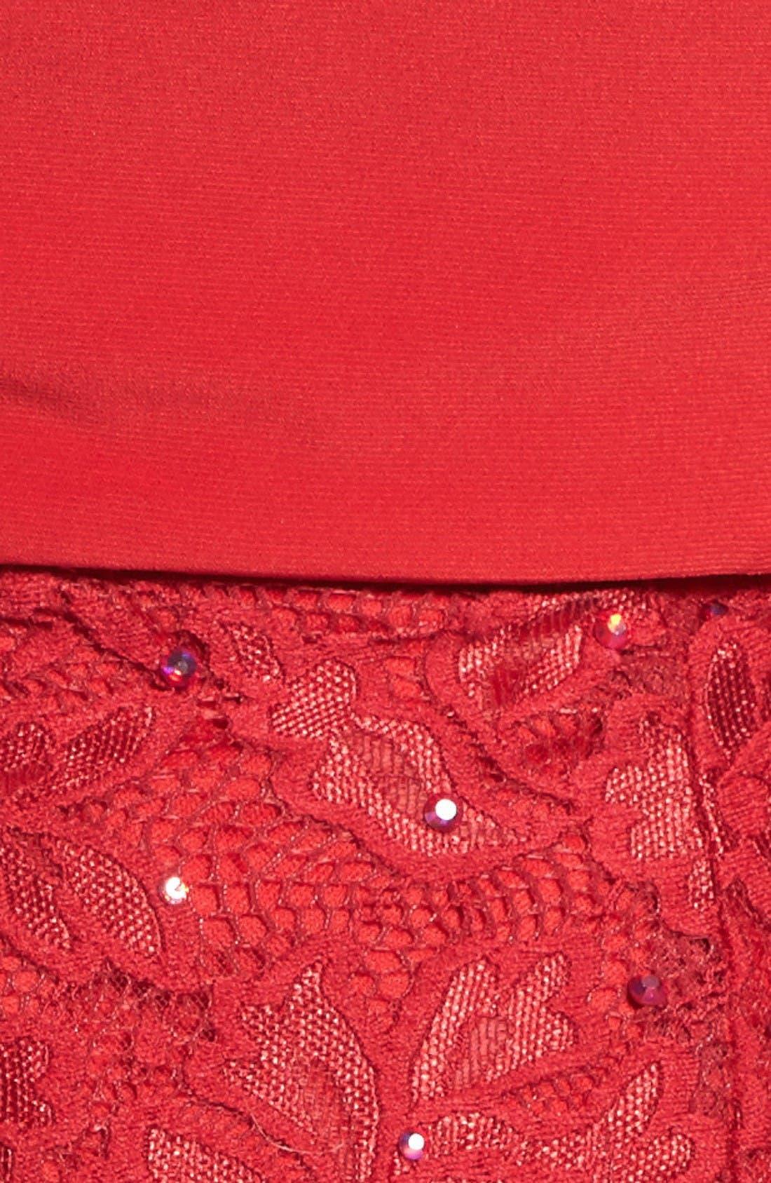 Alternate Image 5  - La Femme Jersey & Lace Two-Piece Gown