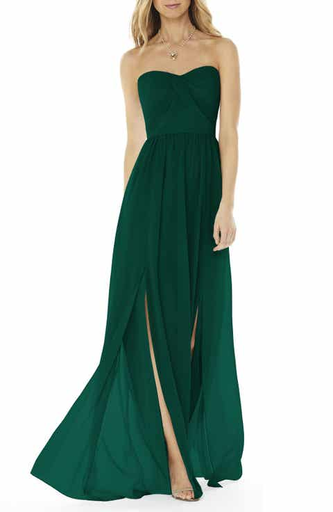 Green bridesmaid wedding party dresses nordstrom social bridesmaids strapless georgette gown junglespirit Images