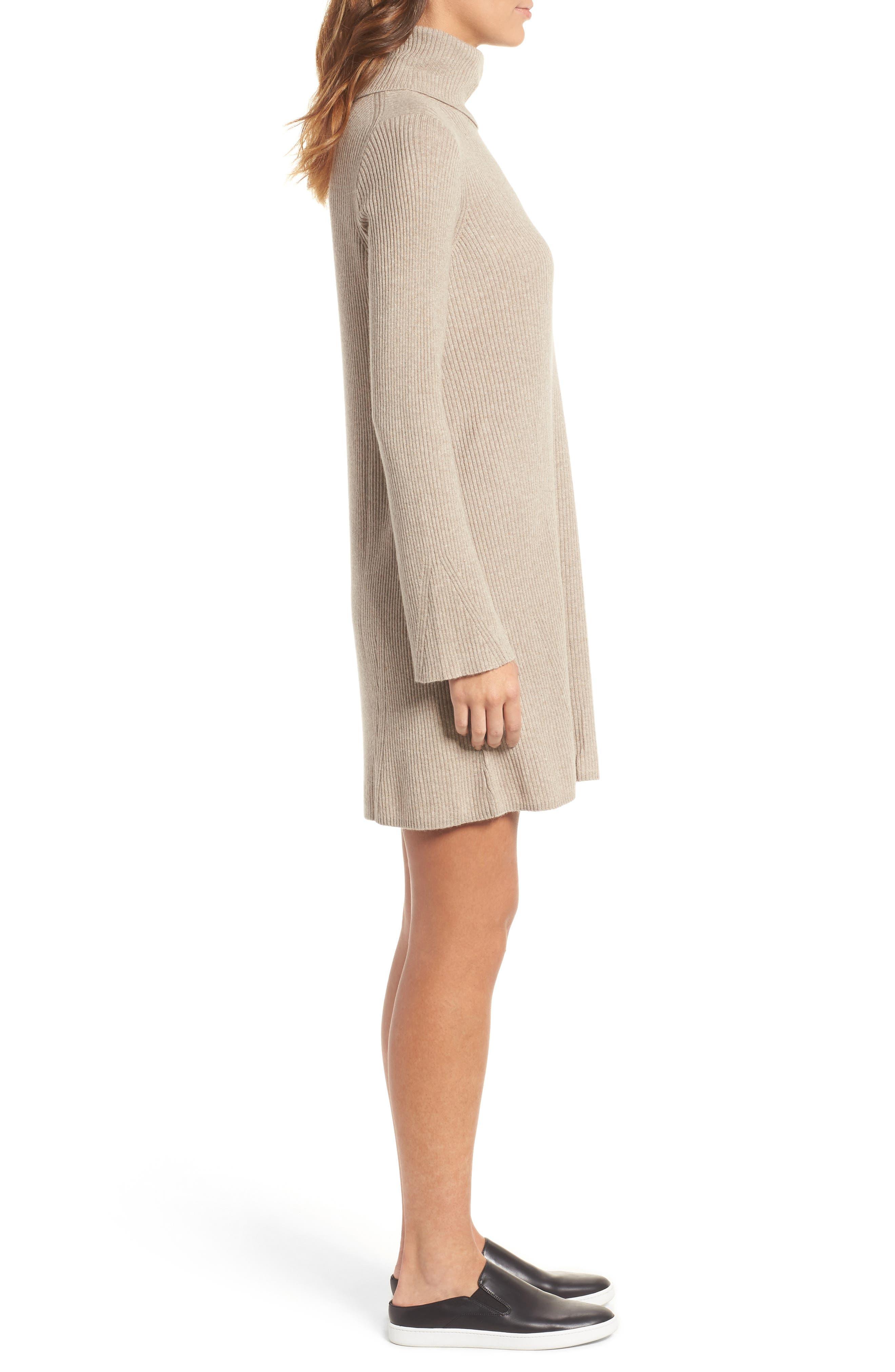 Turtleneck Sweater Dress,                             Alternate thumbnail 3, color,                             Heather Hazelwood