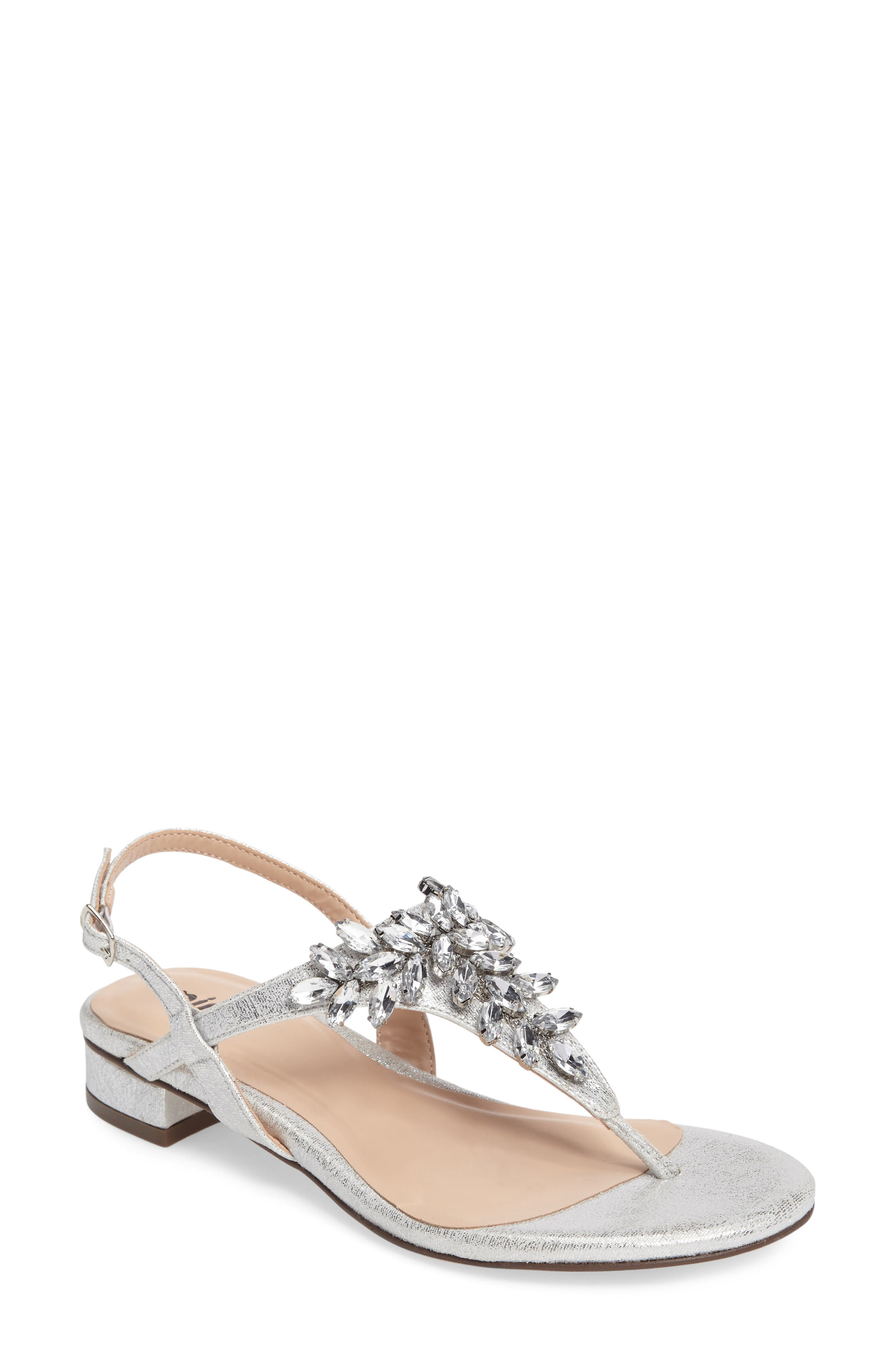 Flame Crystal Embellished Sandal,                             Main thumbnail 1, color,                             Silver