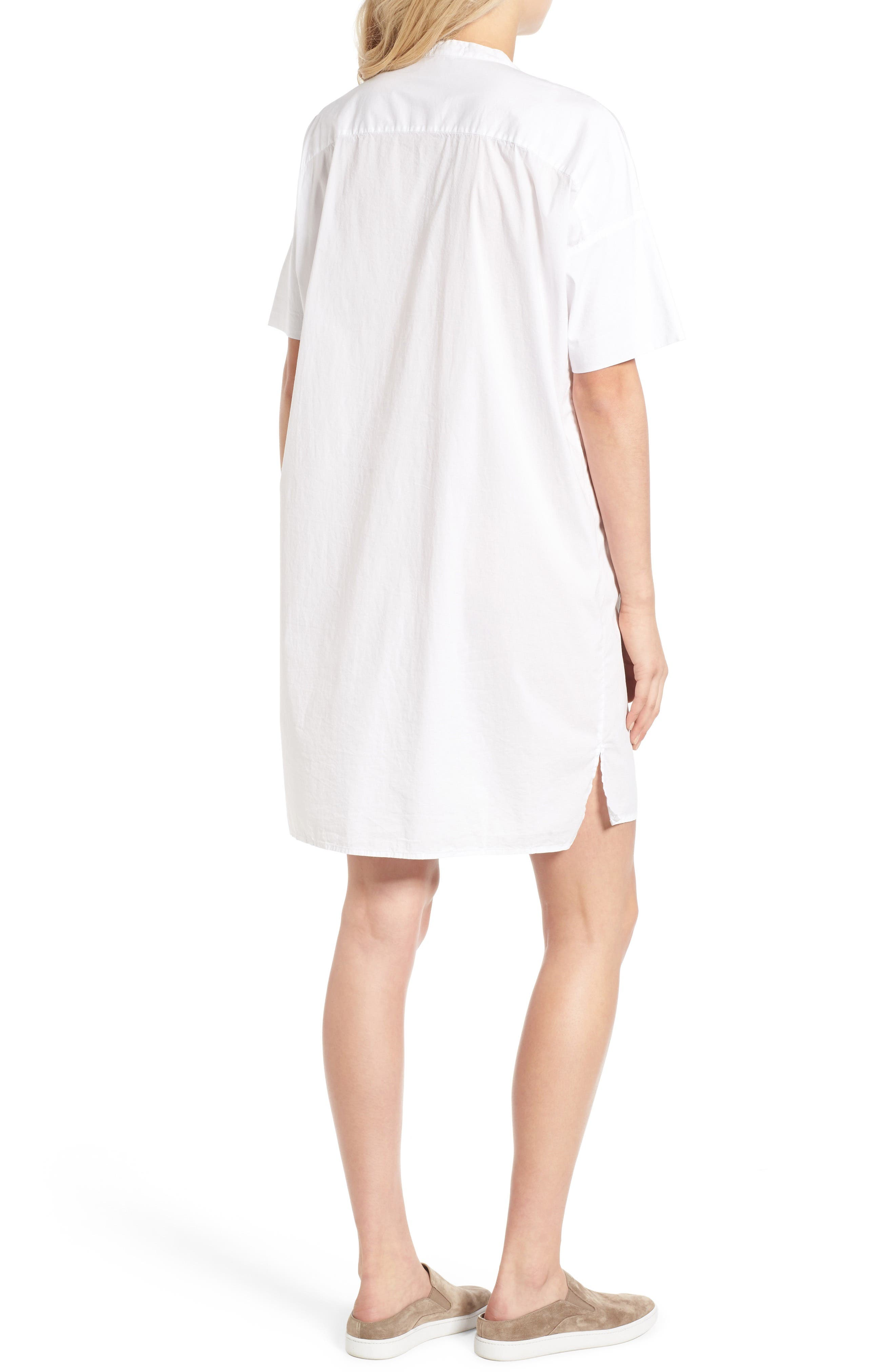 Rolled Sleeve Shirtdress,                             Alternate thumbnail 2, color,                             White
