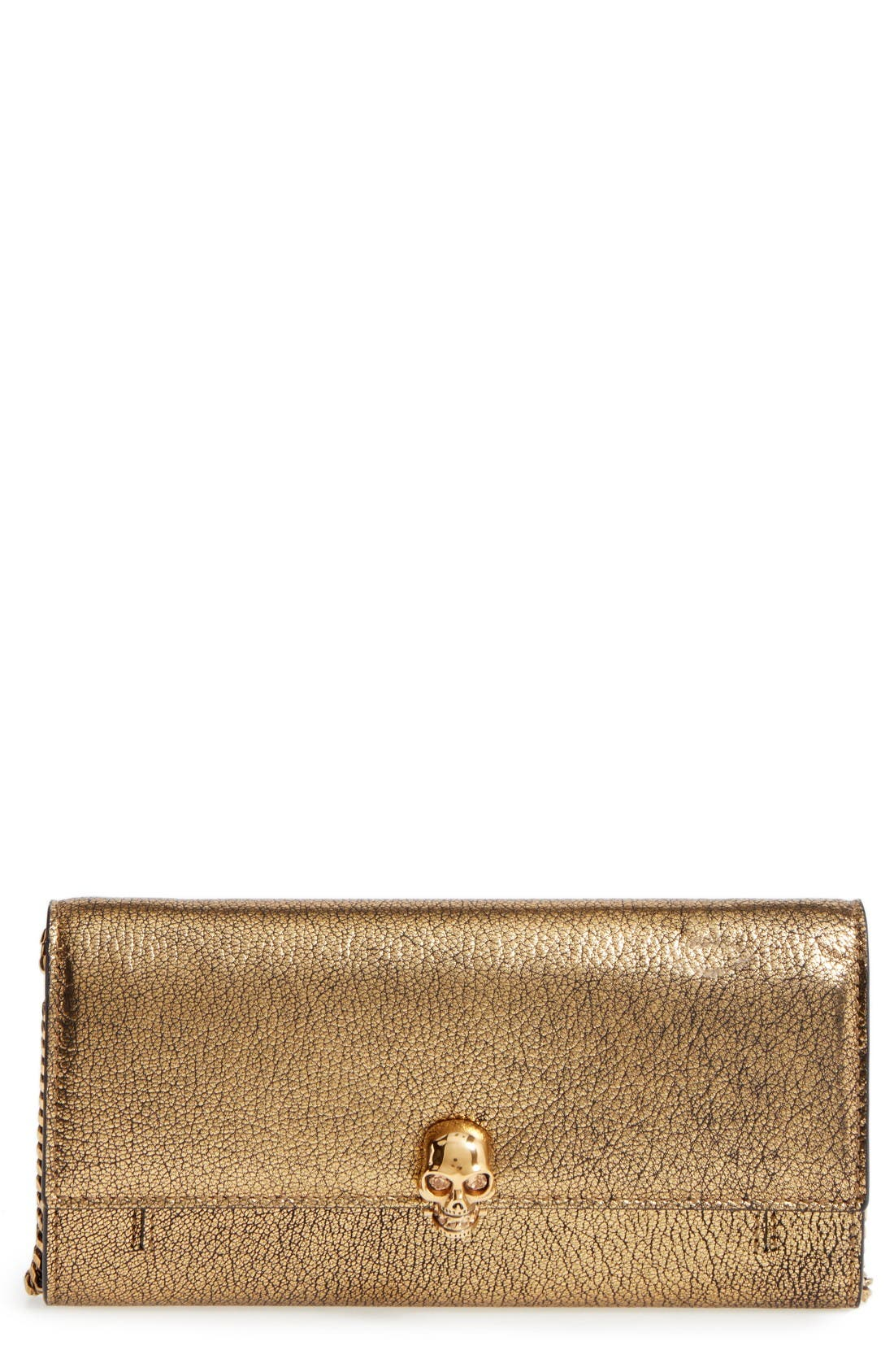 Alternate Image 1 Selected - Alexander McQueen Skull Leather Wallet on a Chain