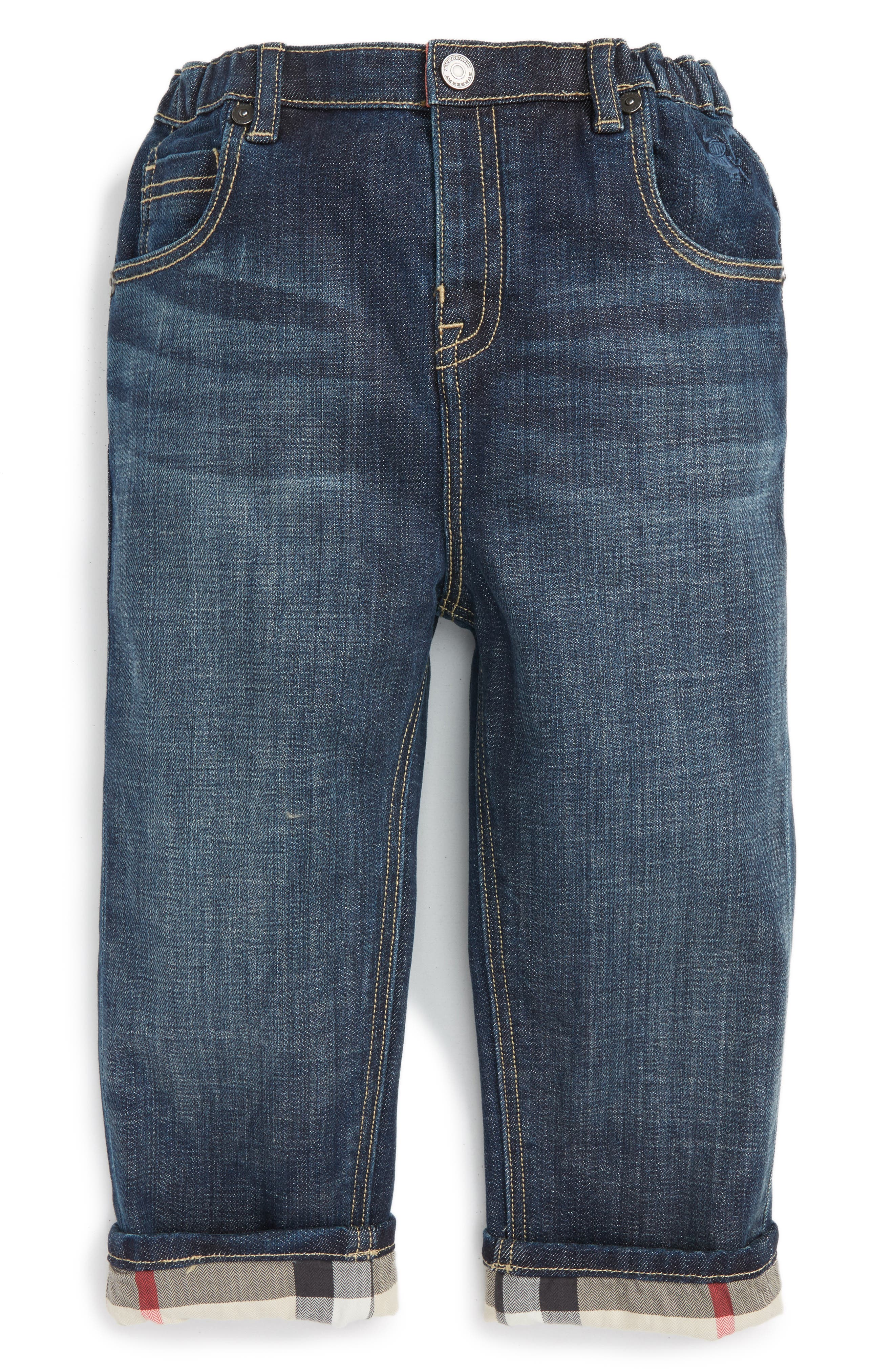 Main Image - Burberry Pierre Check Lined Jeans (Baby Boys)
