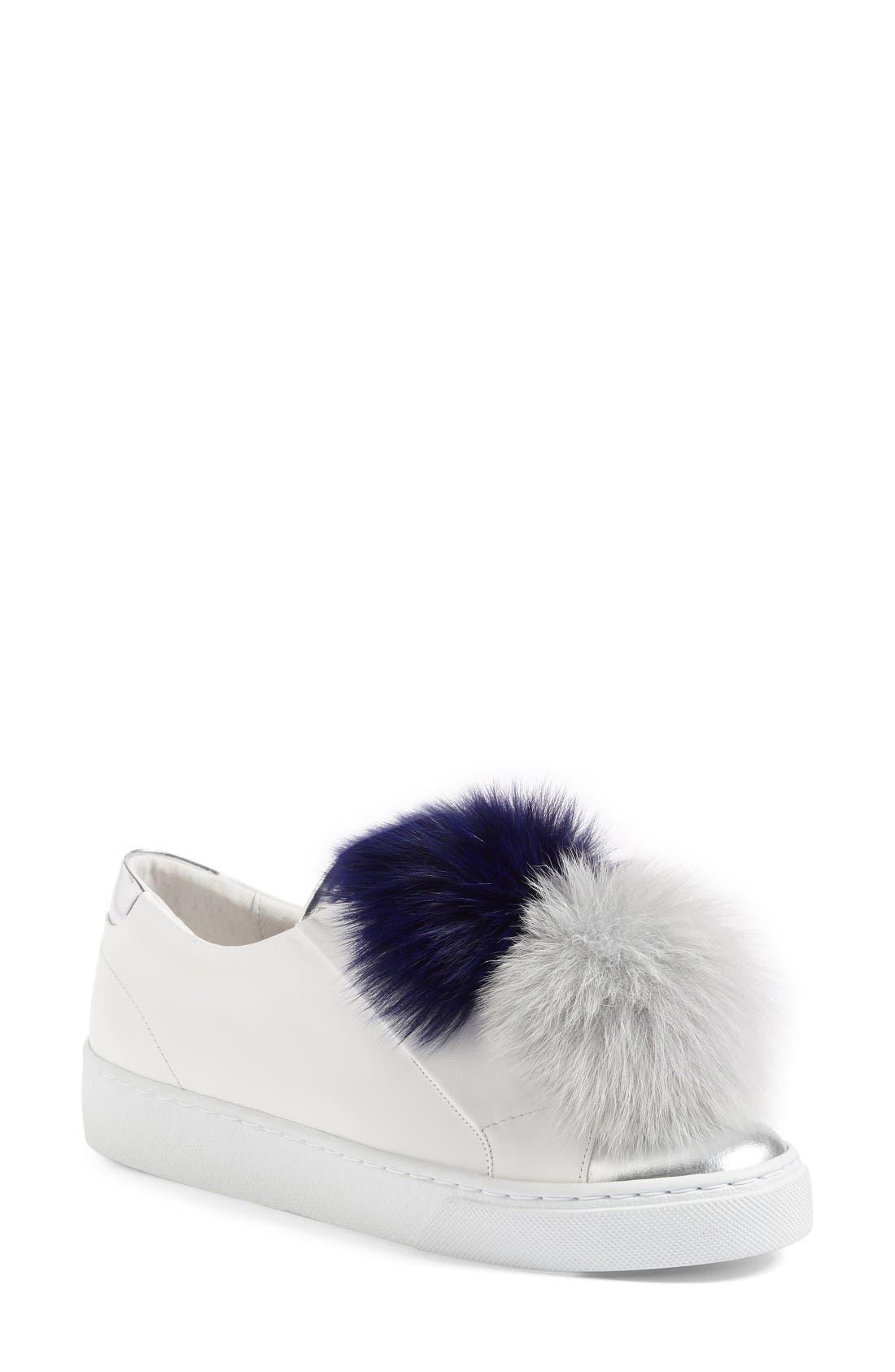 Arian Genuine Fox Fur Trim Sneaker,                             Main thumbnail 1, color,                             White Leather/ Navy/ Grey