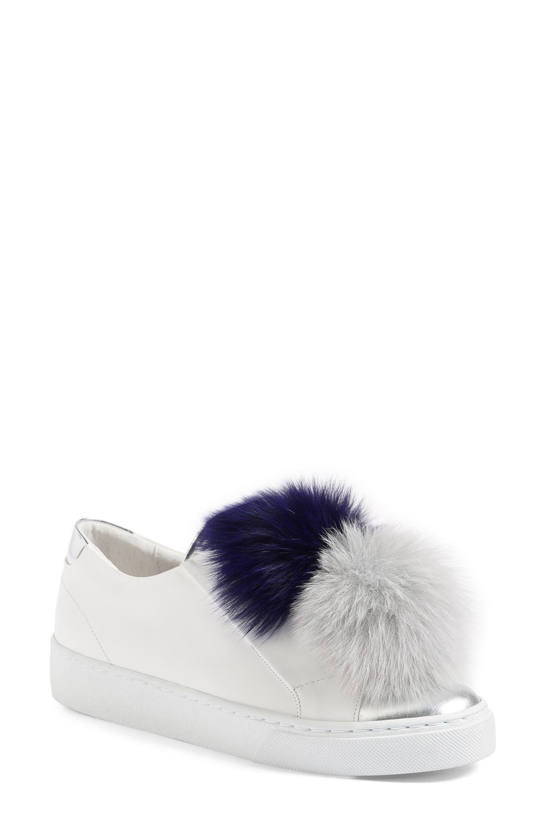 Arian Genuine Fox Fur Trim Sneaker,                         Main,                         color, White Leather/ Navy/ Grey